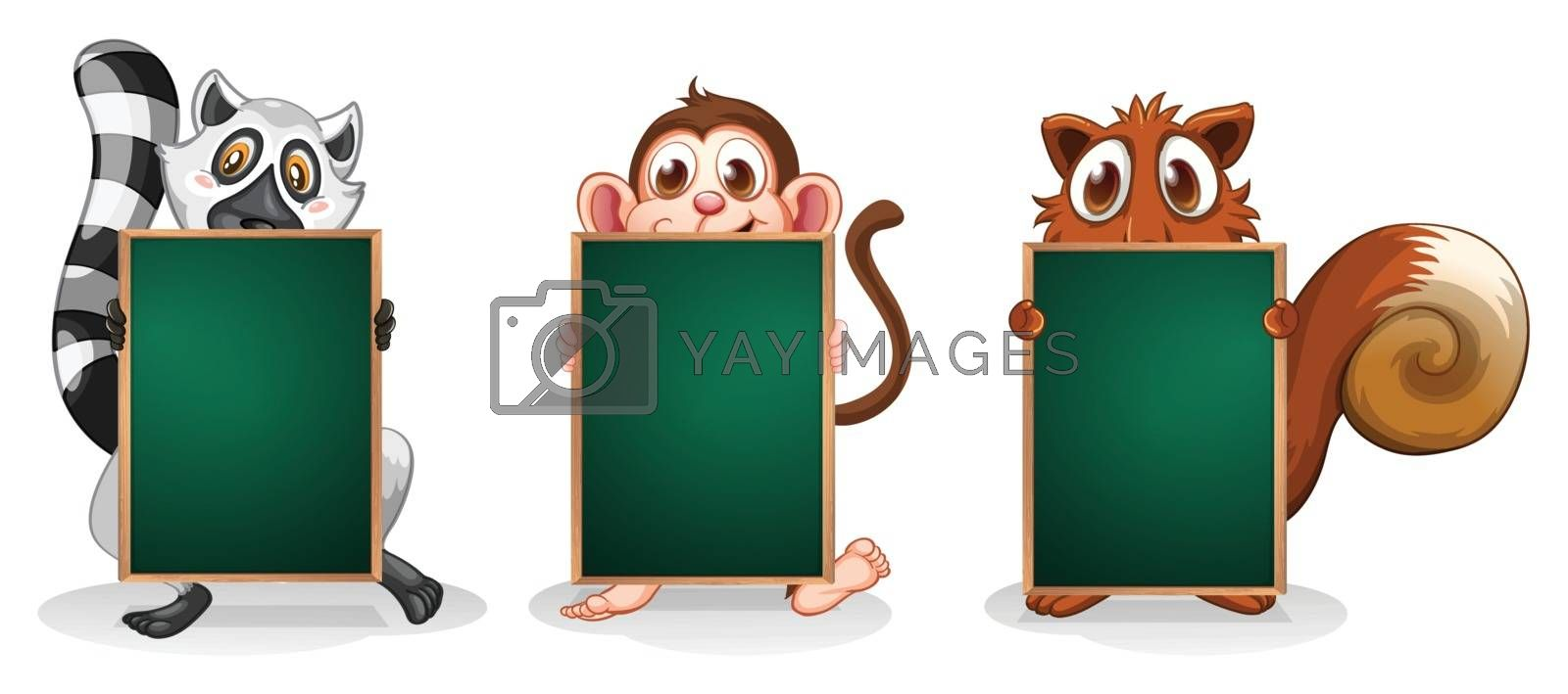 Illustration of the wild animals with empty green signboards on a white background