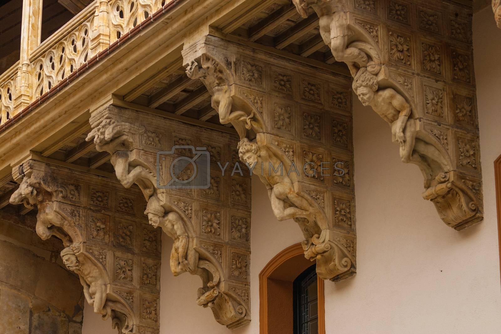Beautiful corbels in Salina Palace located in Salamanca by imagsan