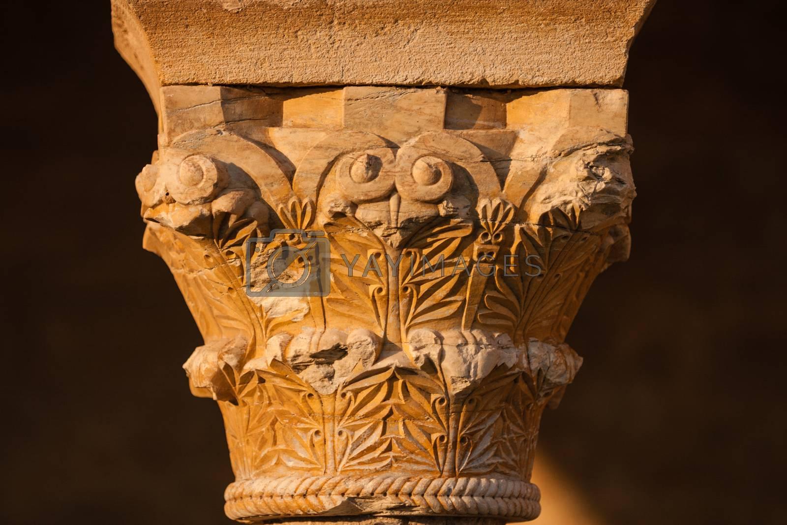 Closeup view of romanesque capital in san miguel de escalada church province of Leon in Spain