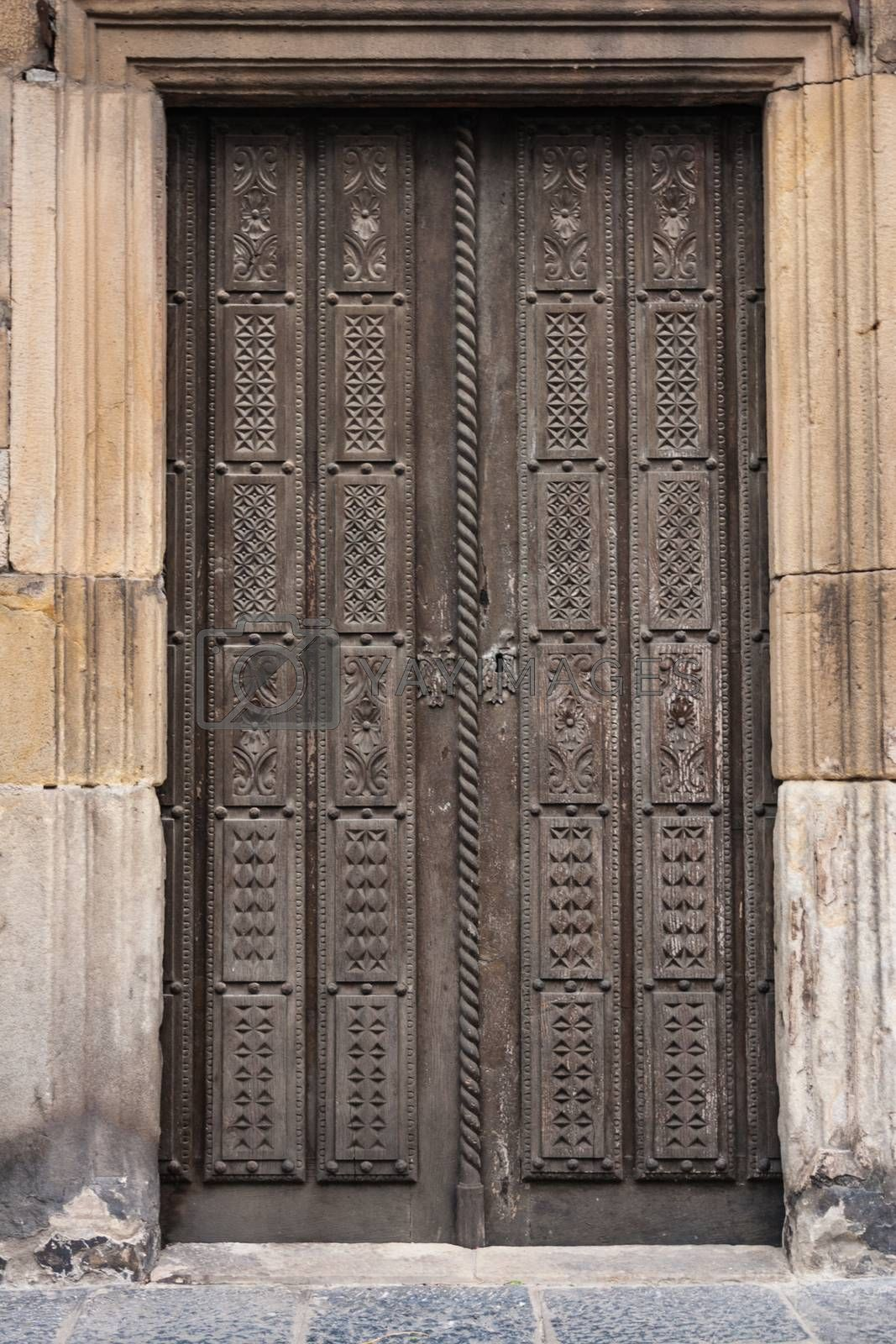 Old wooden door with very beautiful carving decoration