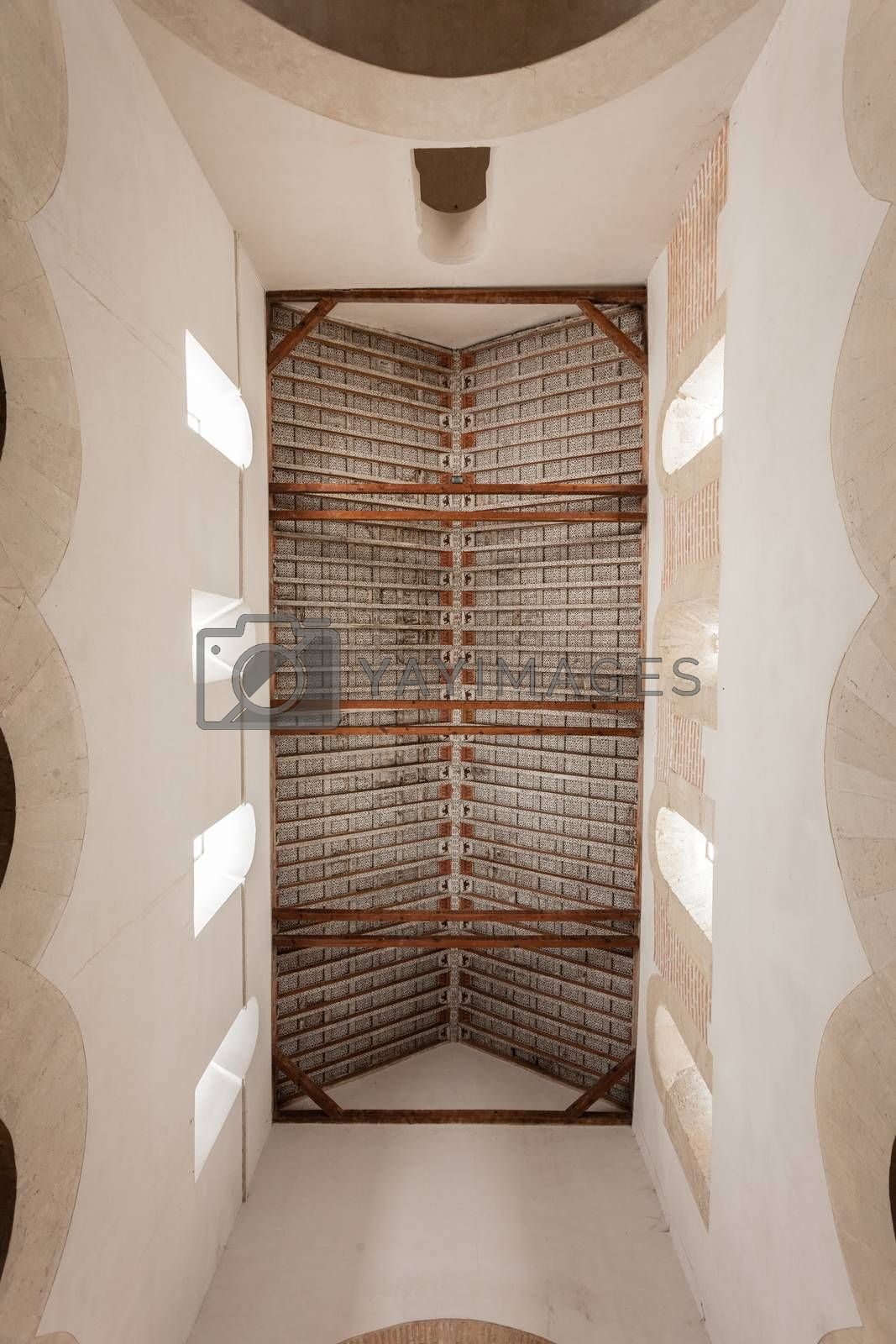 delicate coffered ceiling in San Cebrian de Mazote mozarabic church in the province of Valladolid Spain
