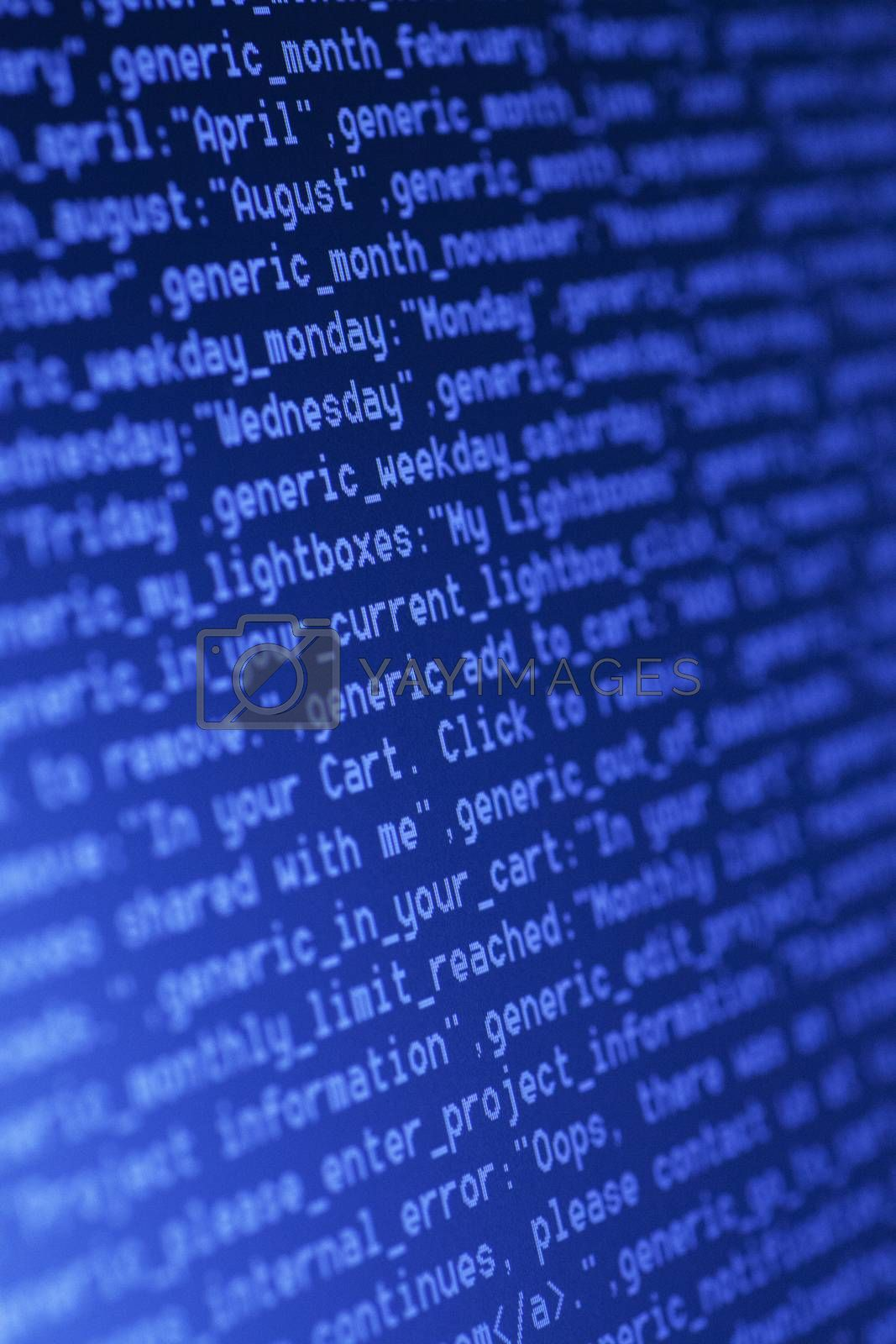 Close up of HTML codes on LED screen