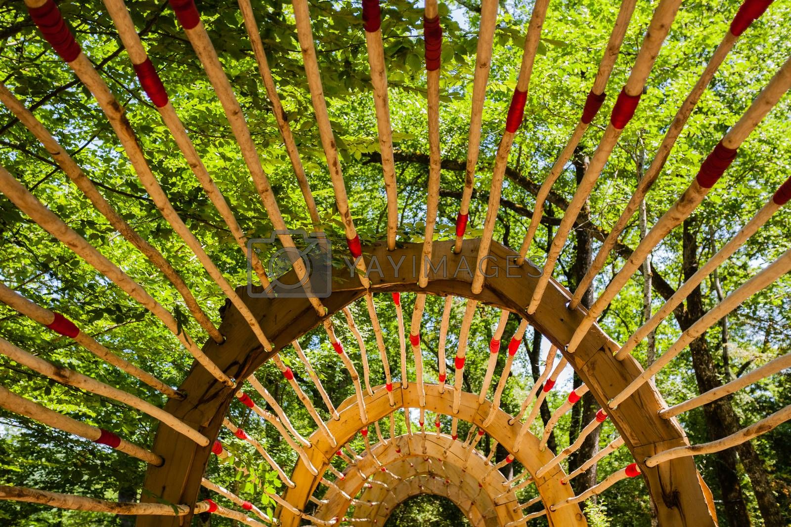 Wooden pergola in french garden by imagsan