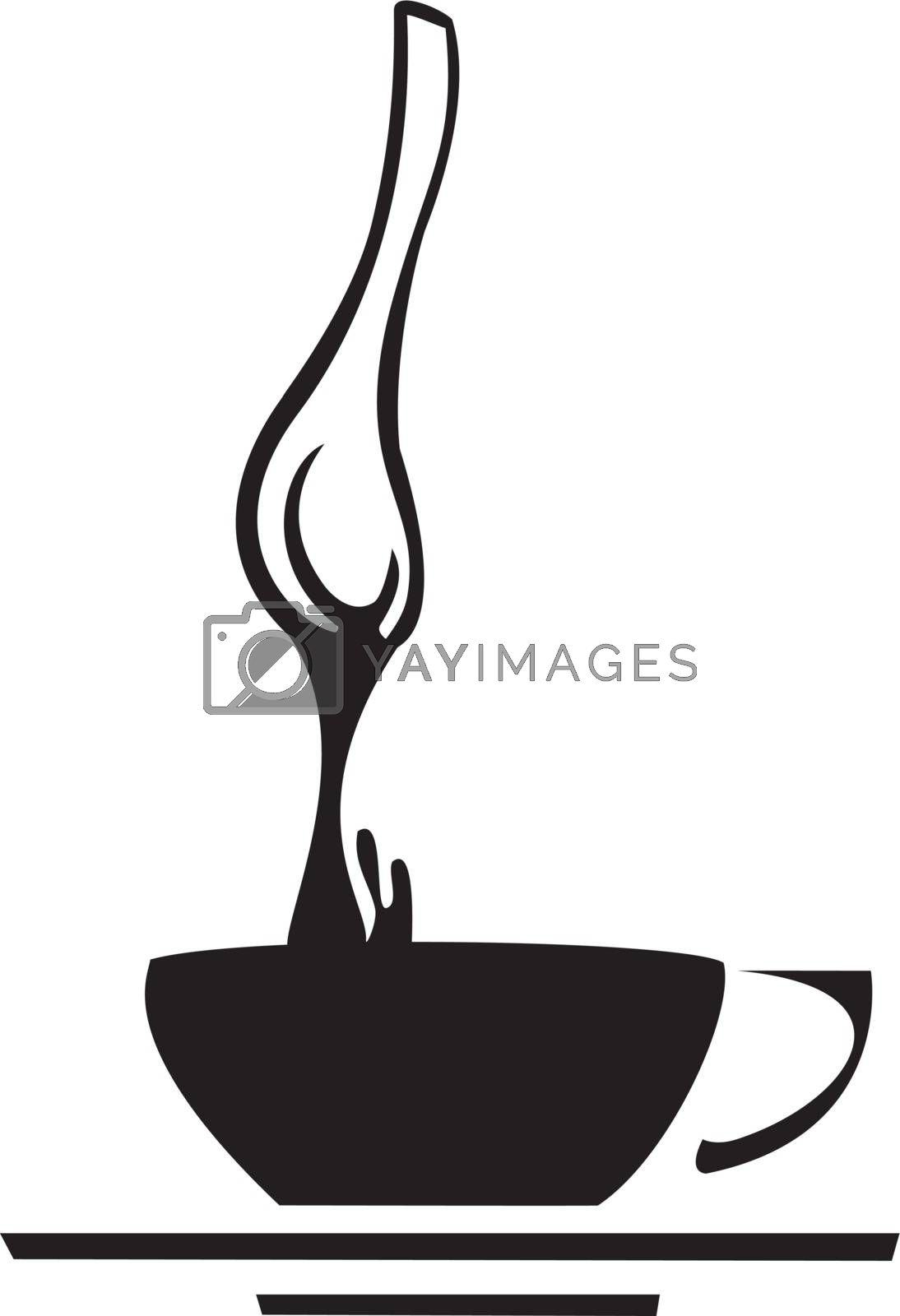Spoon dipping into a cup of black coffee.