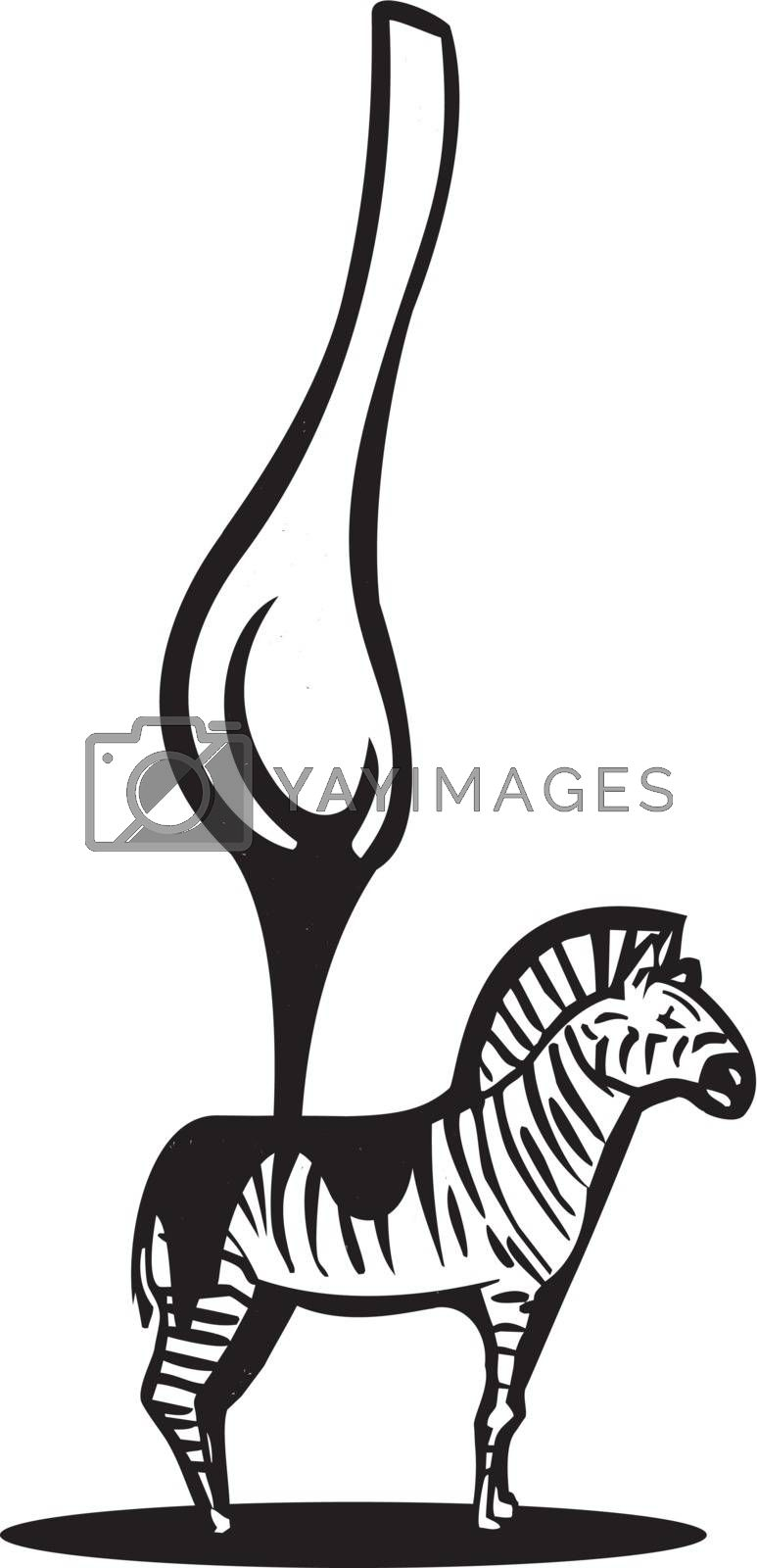 Spoon pouring black liquid over a zebra with stripes.