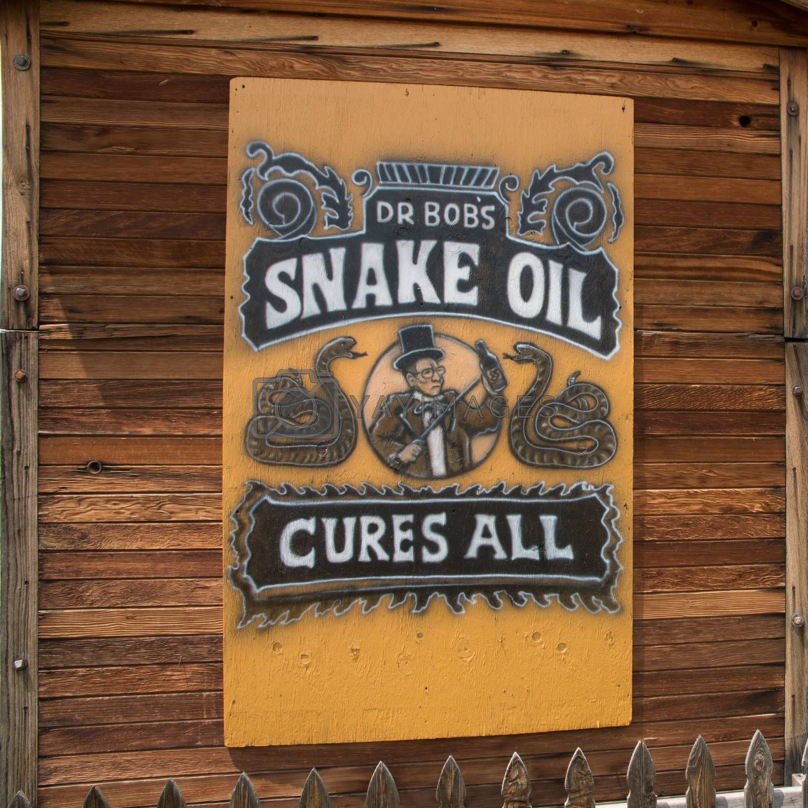 A sign for Dr Bob's Snake Oil Cure All in Masonville, CO