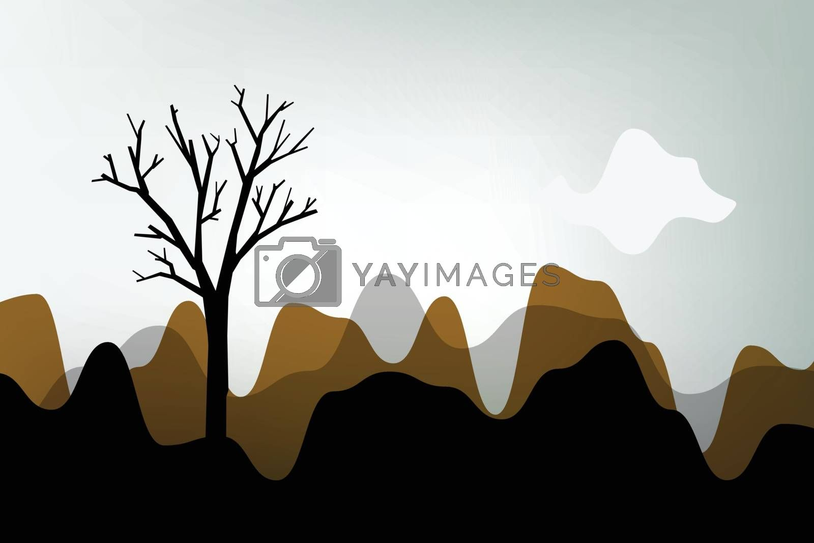 Autumn landscape, tree silhouette on abstract stylish scenery