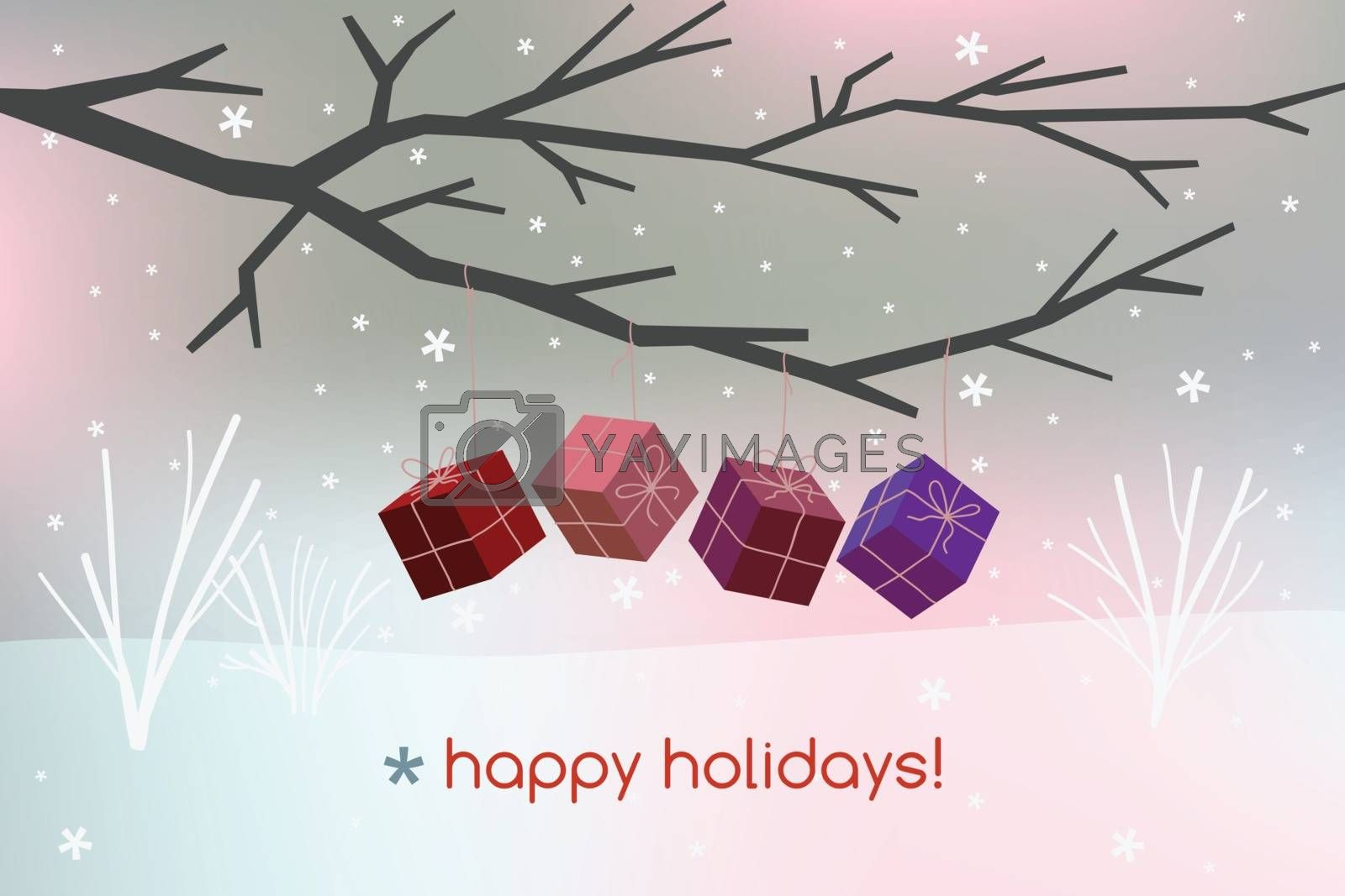 Christmas holiday card, winter season background, with snowflakes.