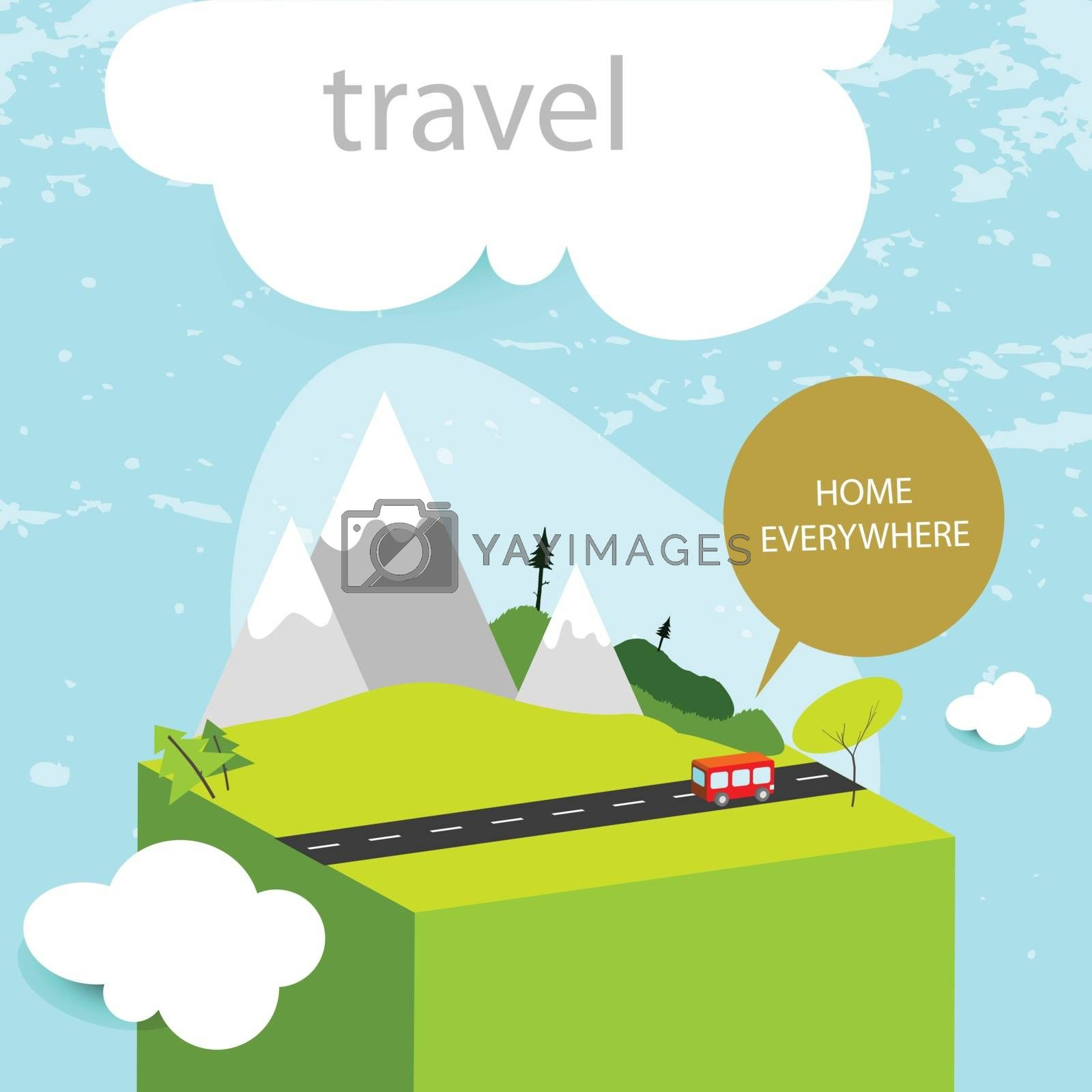 Travel, summer vacation concept, abstract vector illustration, bus on the road.