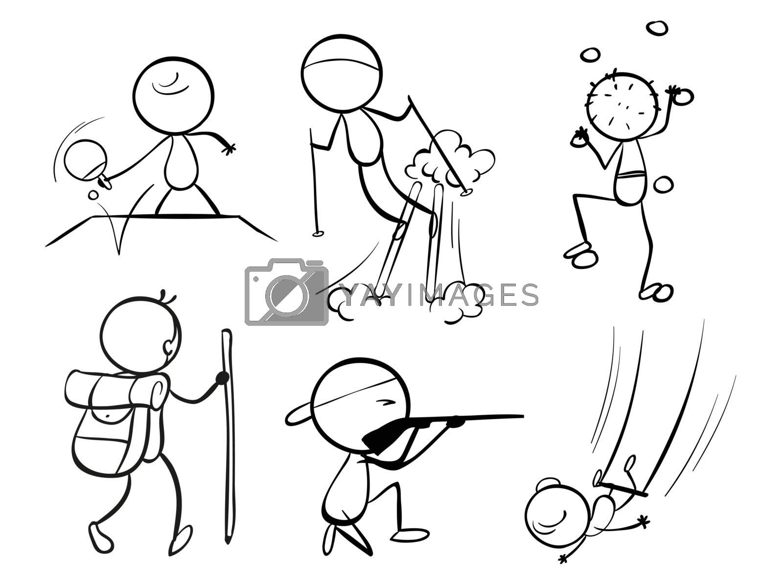 Illustration of the doodle designs of sporty people on a white background
