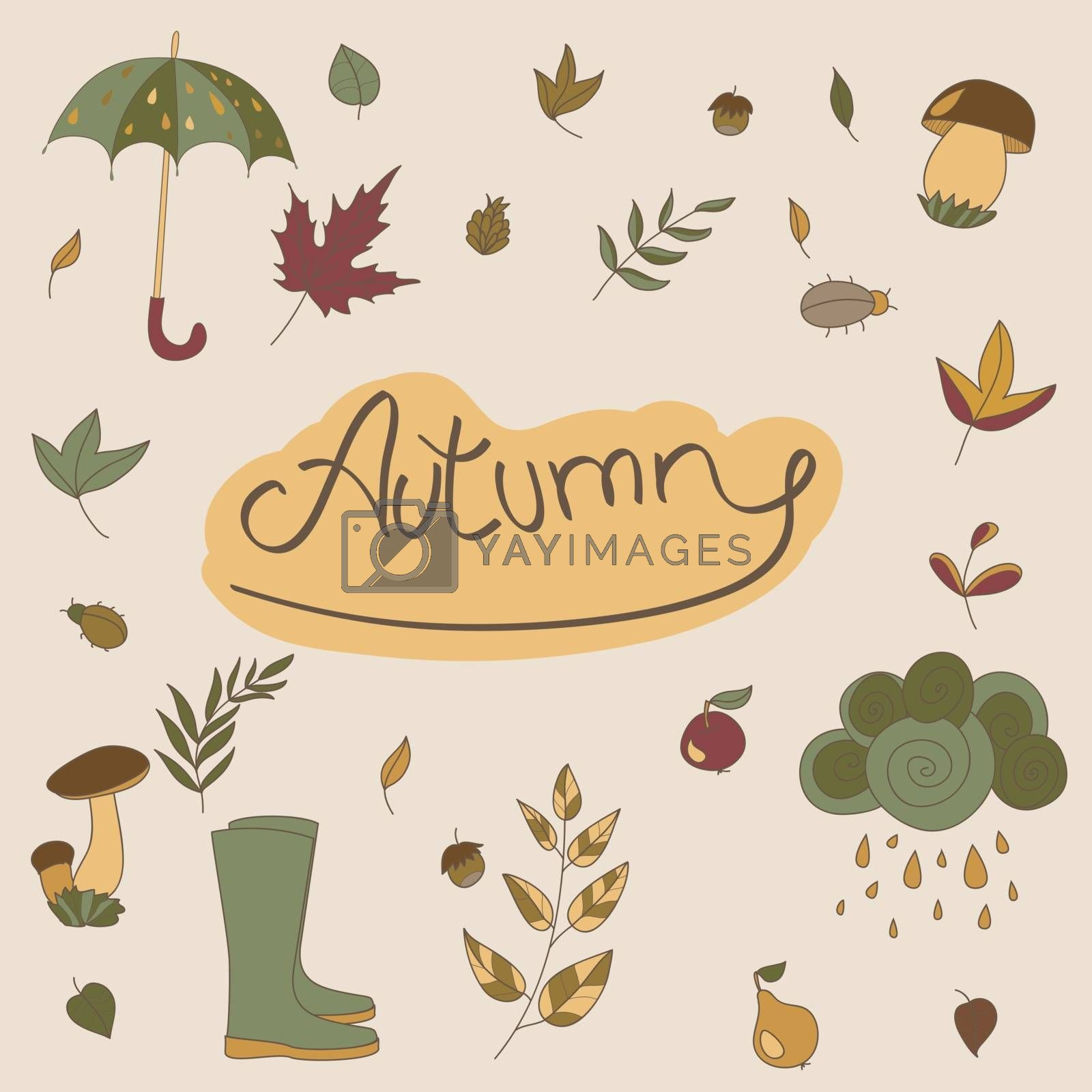 Autumn seasonal objects. Use to compose. Use for your design