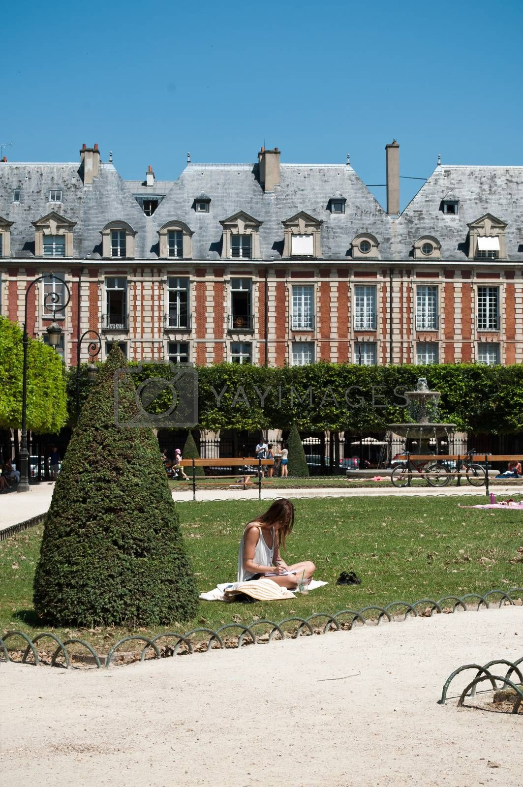 Royalty free image of Place of Vosges in Paris by NeydtStock