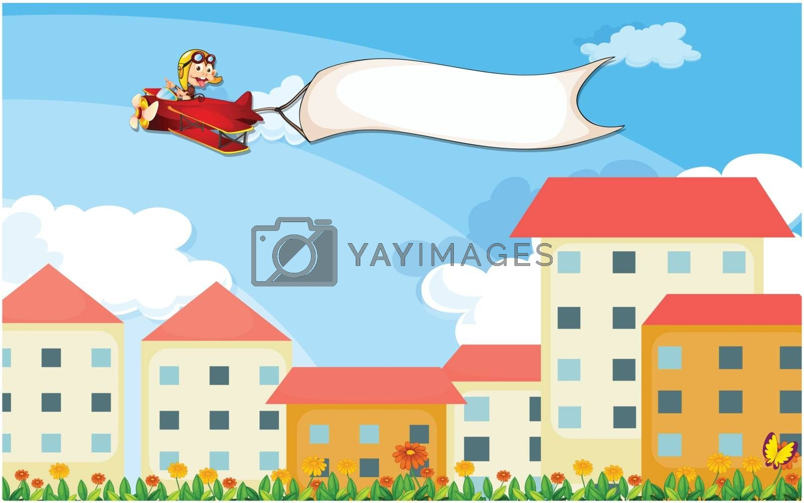 A plane above the houses with an empty banner by iimages