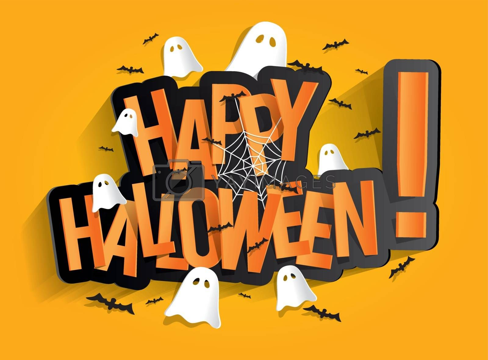 Happy Halloween Card Design Elements On Background, vector illustration