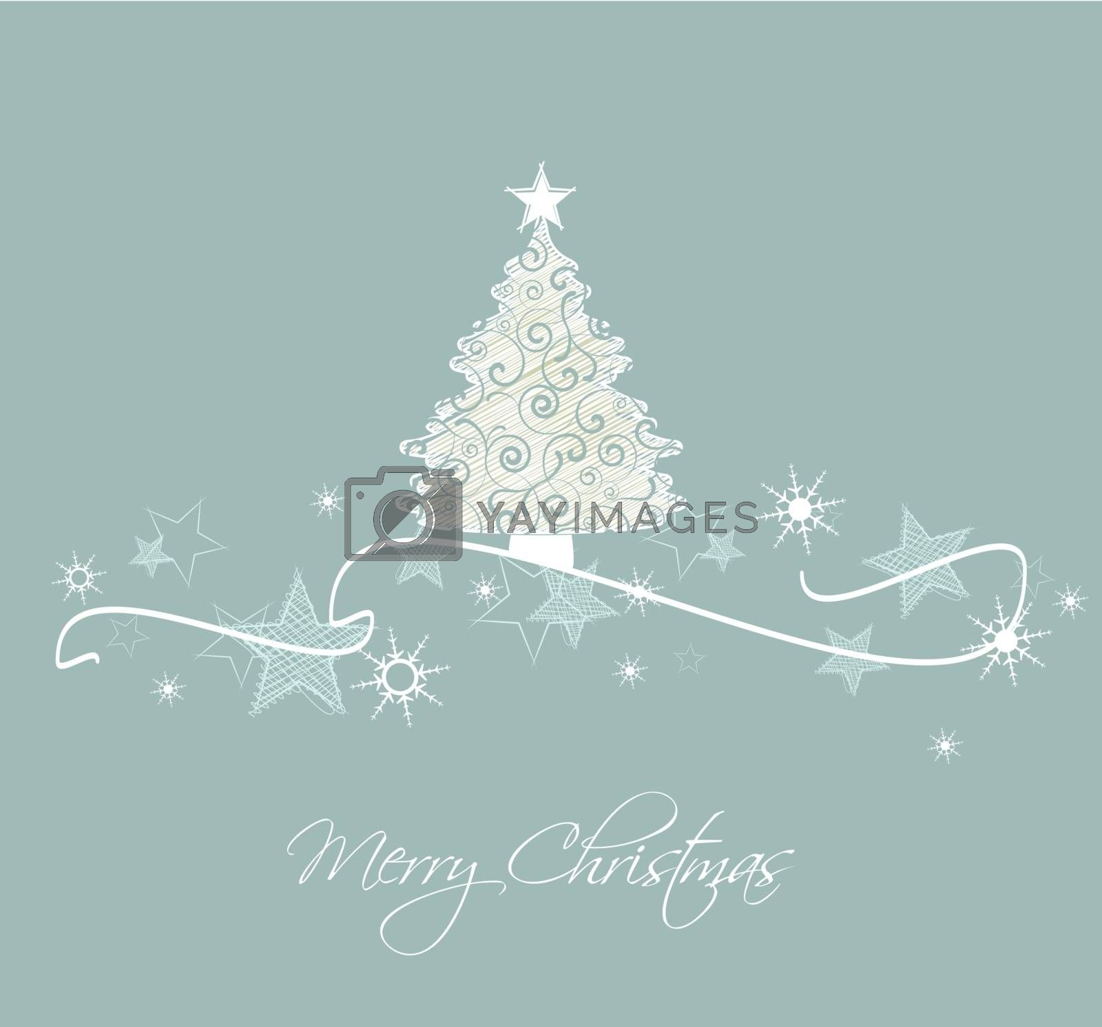 Vector Christmas tree on a blue background