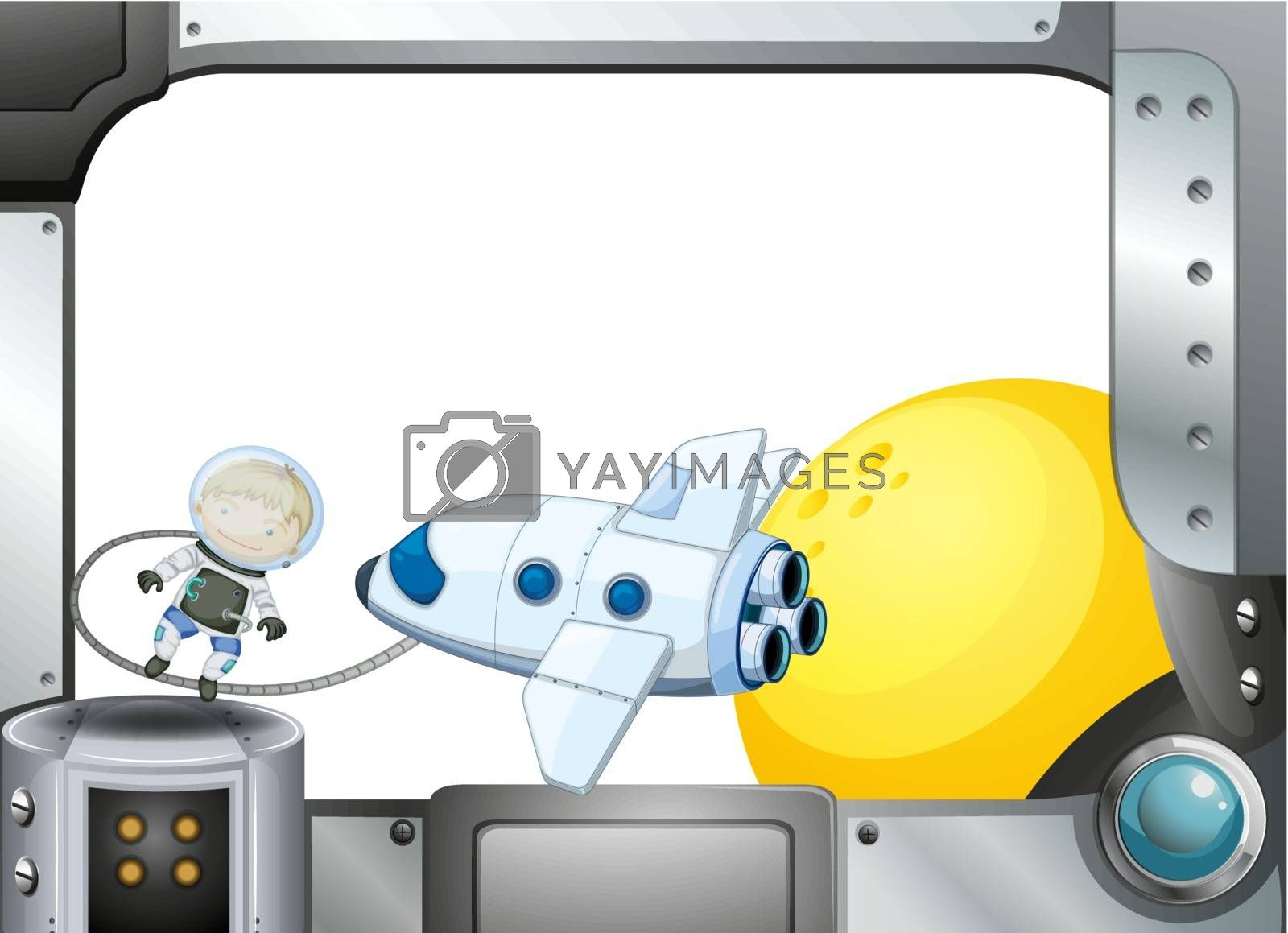 Illustration of a metal frame border with an airplane and an astronaut
