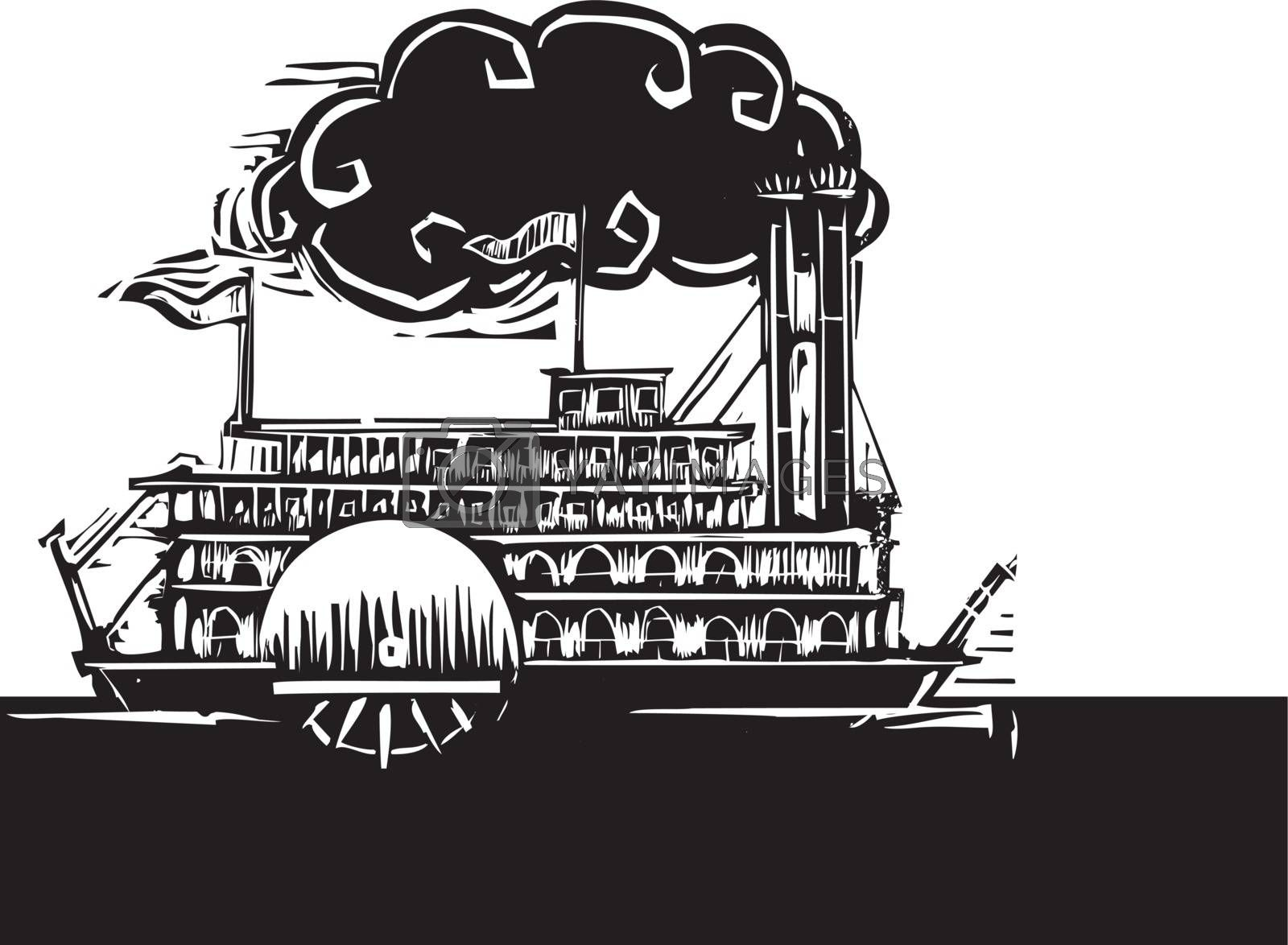 Woodcut style side wheel Mississippi river steamboat on dark water.