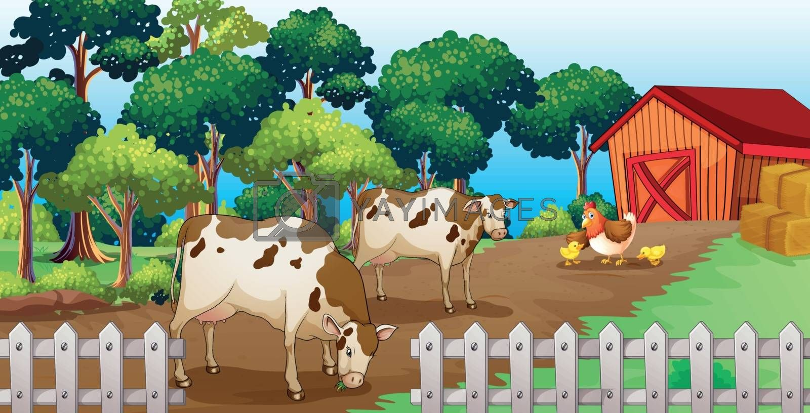 Illustration of a farm with animals inside the fence