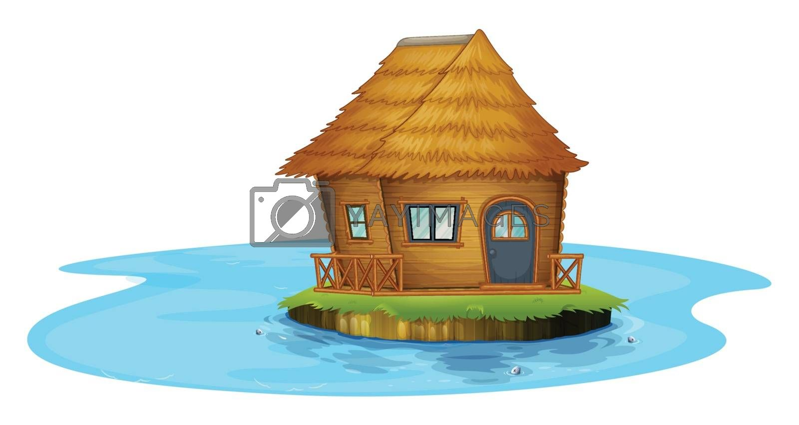 Illustration of an island with a small house on a white background