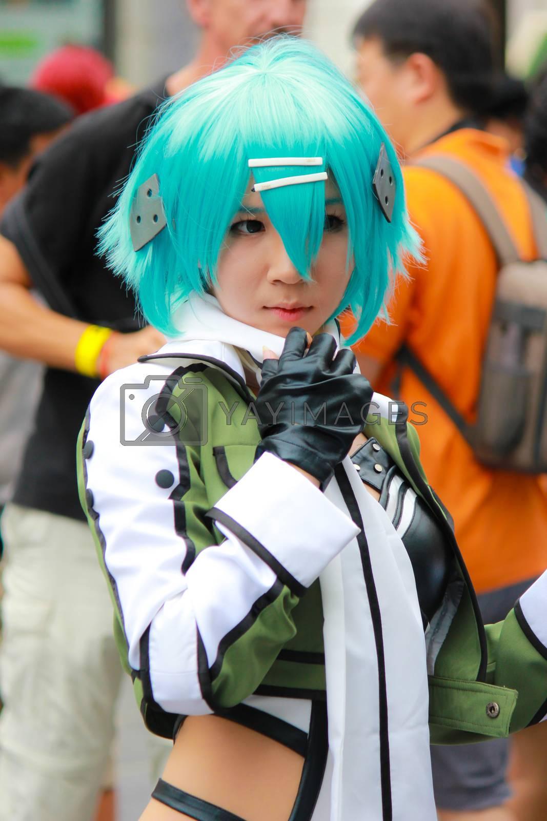 Bangkok - Aug 31: An unidentified Japanese anime cosplay Sinon pose  on August 31, 2014 at Central World, Bangkok, Thailand.