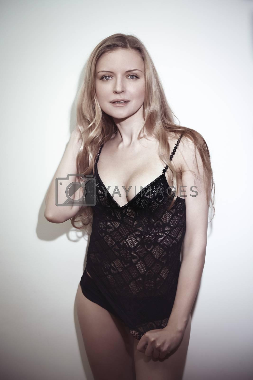 Blond lady in black underwear
