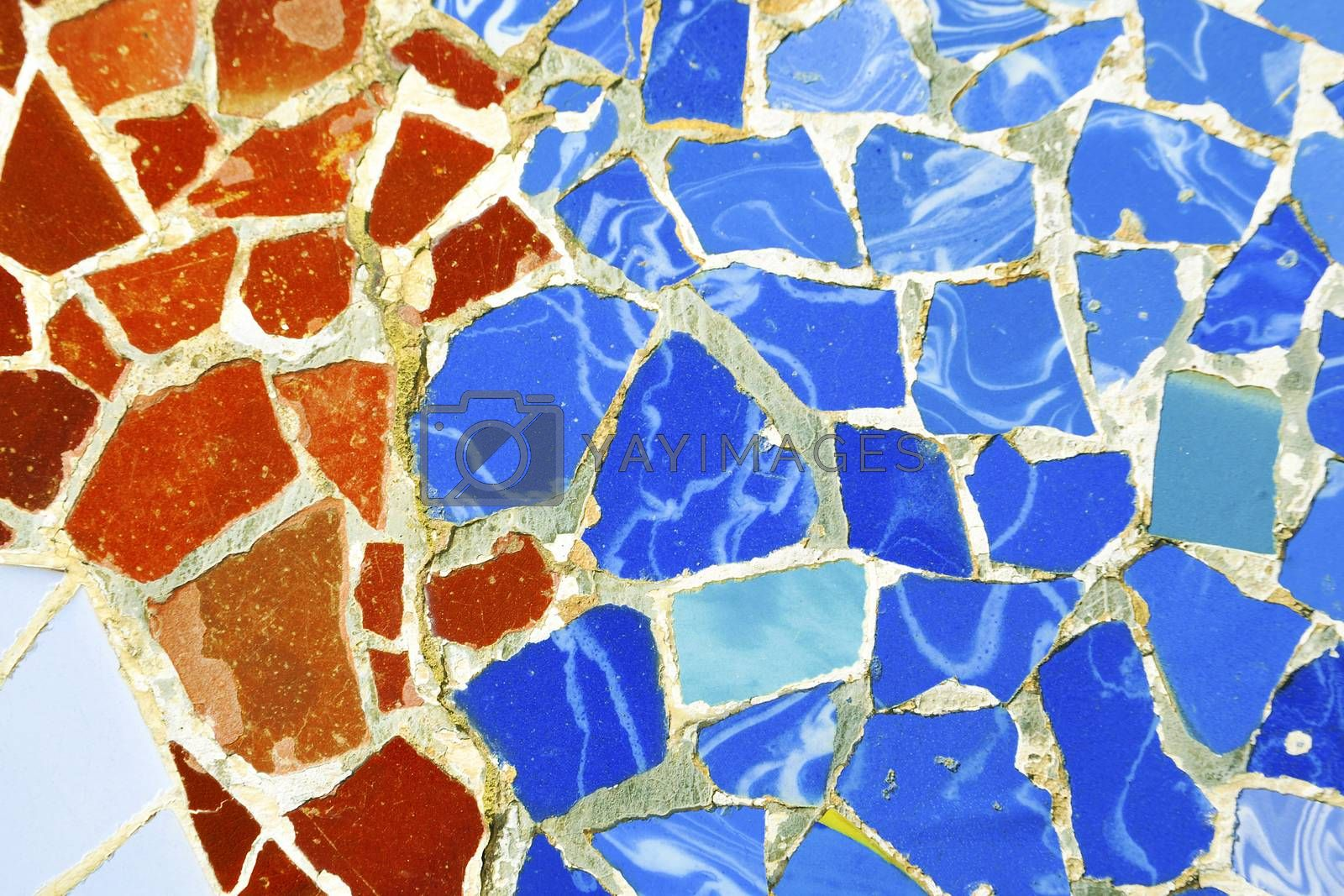detailed multicolored mosaic ornament fragment from Park Guell, Barcelona, creation of Antonio Gaudi