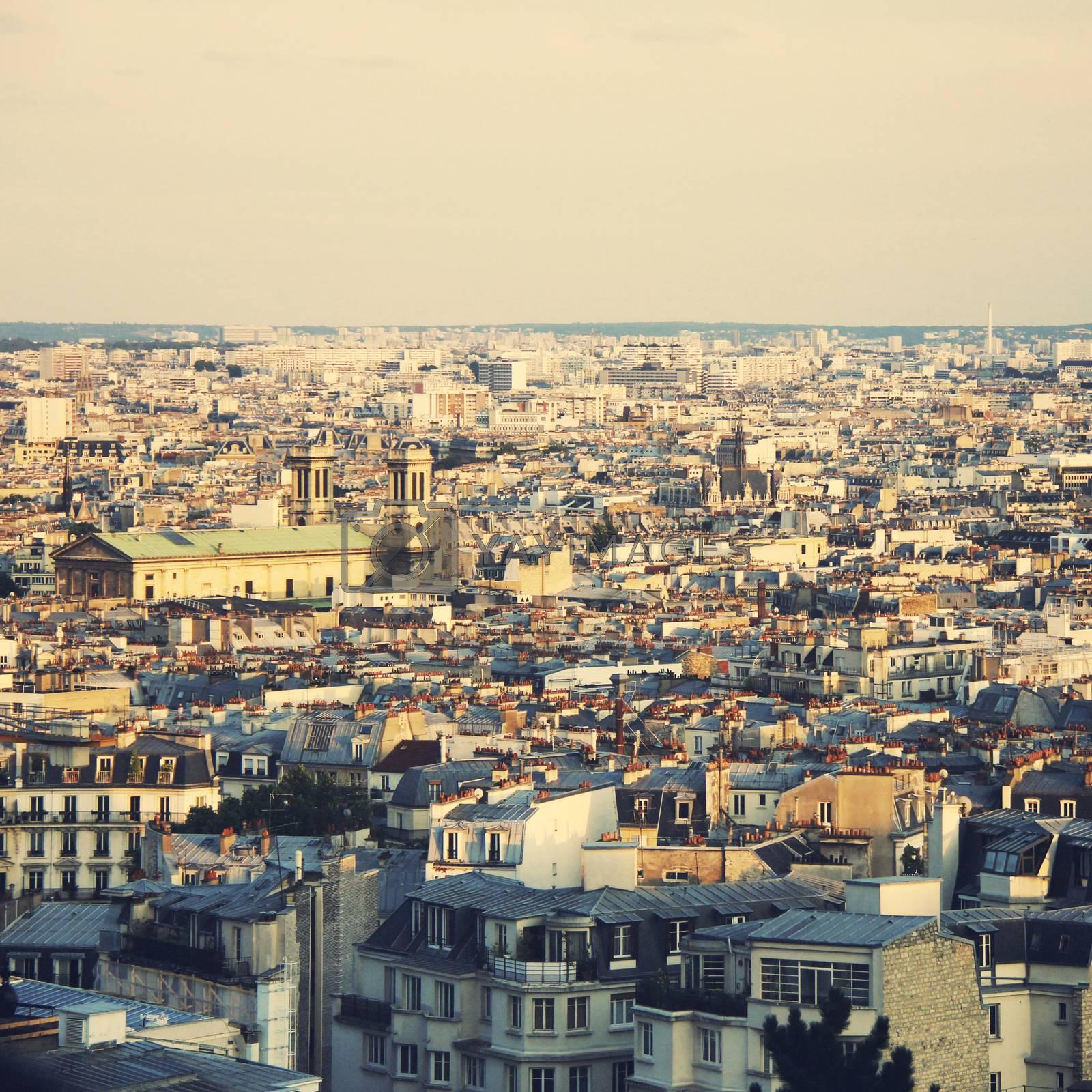 Top view of paris skyline, retro filter effect