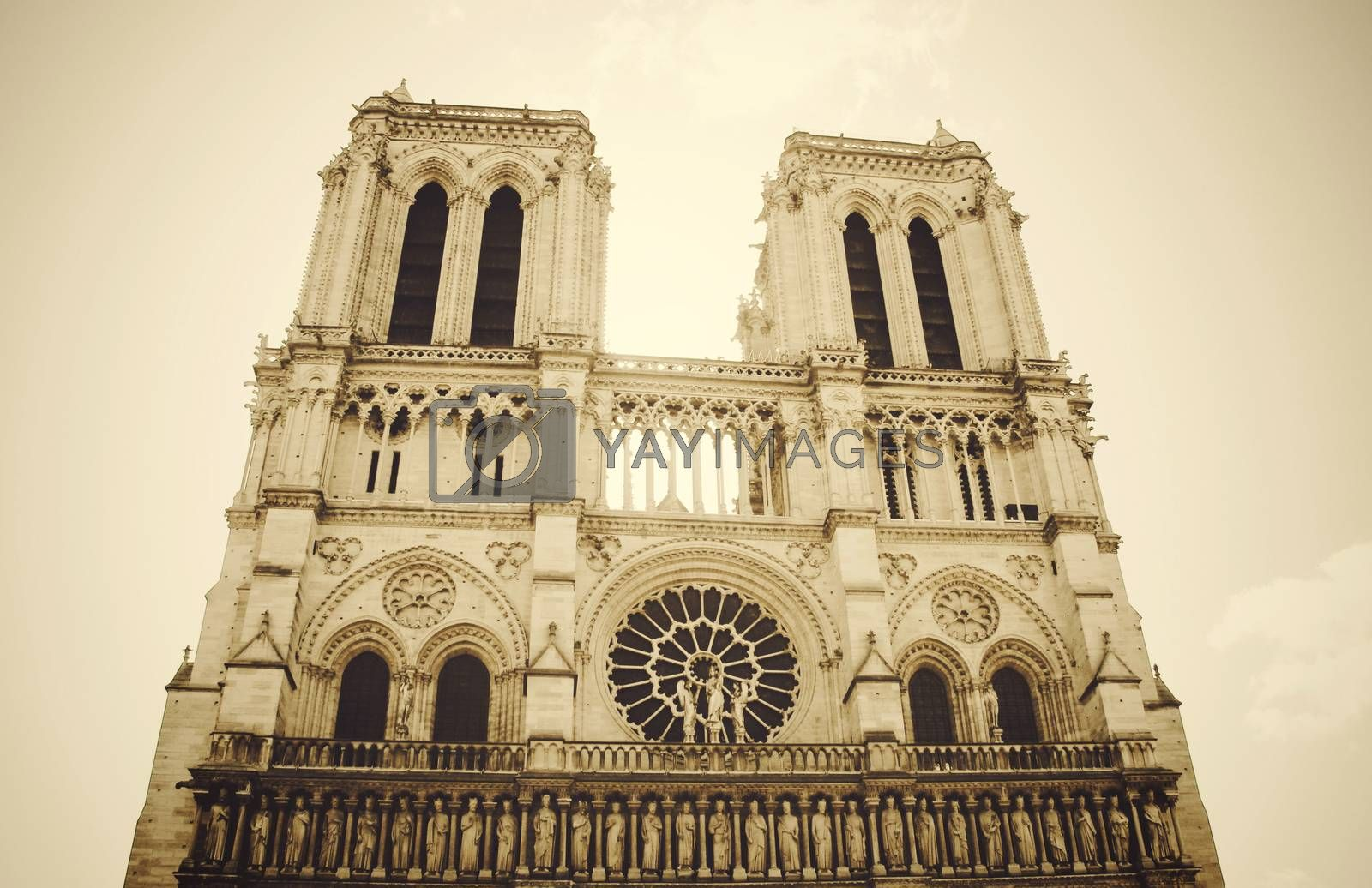 Notre Dame de Paris with sepia toned