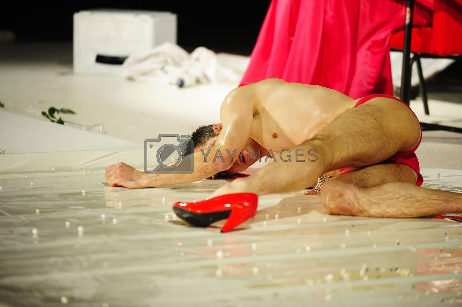 "SERBIA, BELGRADE - JANUARY 30, 2014:  Premiere of mono-drama ""MERLINKA'S Confession"" about famous Yugoslavian transvestite"
