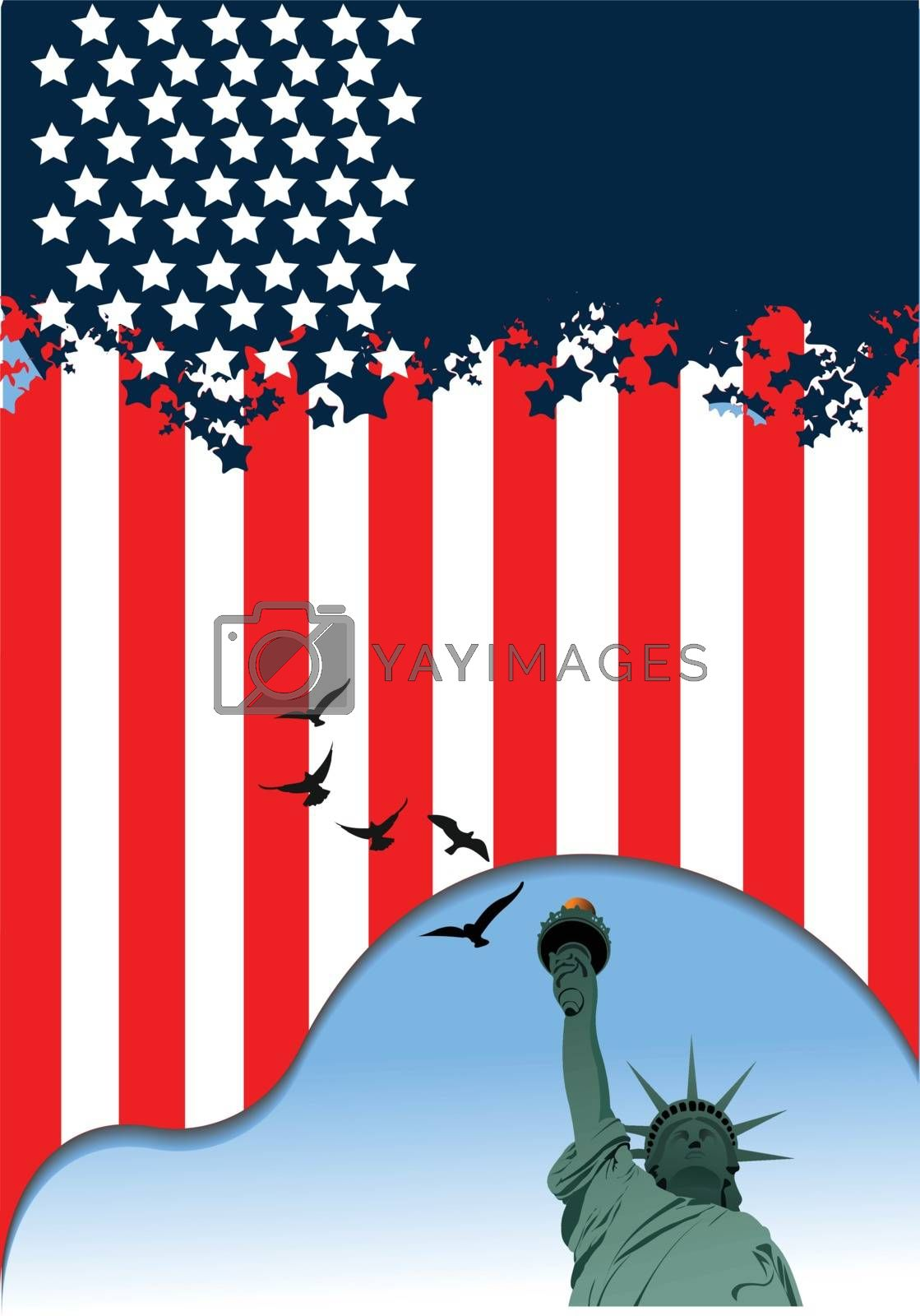 4th July ��� Independence day of United States of America. American flag. Vector
