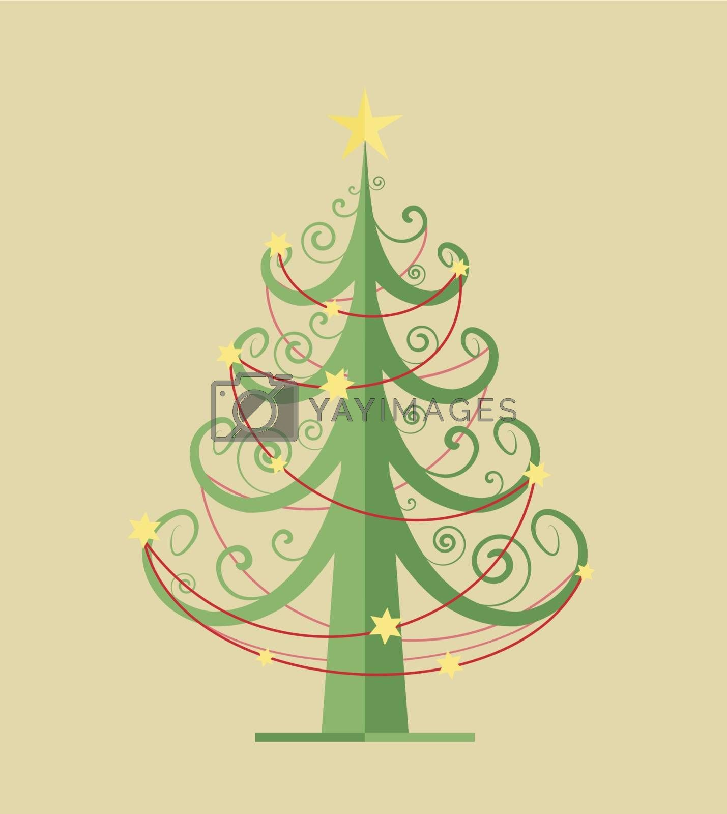 Green Christmas tree on a light brown background