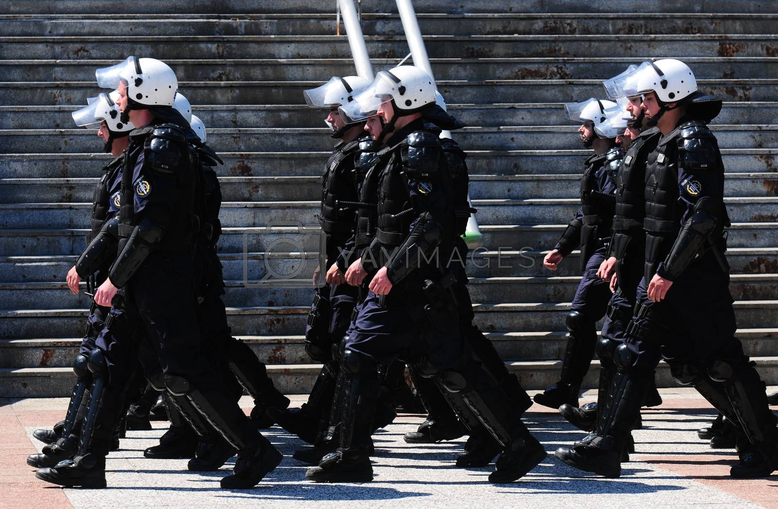 SERBIA, BELGRADE - APRIL 29, 2012: Soldiers of the Serbian police (MUP) elite units, the Gendarmerie, standing in line marking Gendarmerie day
