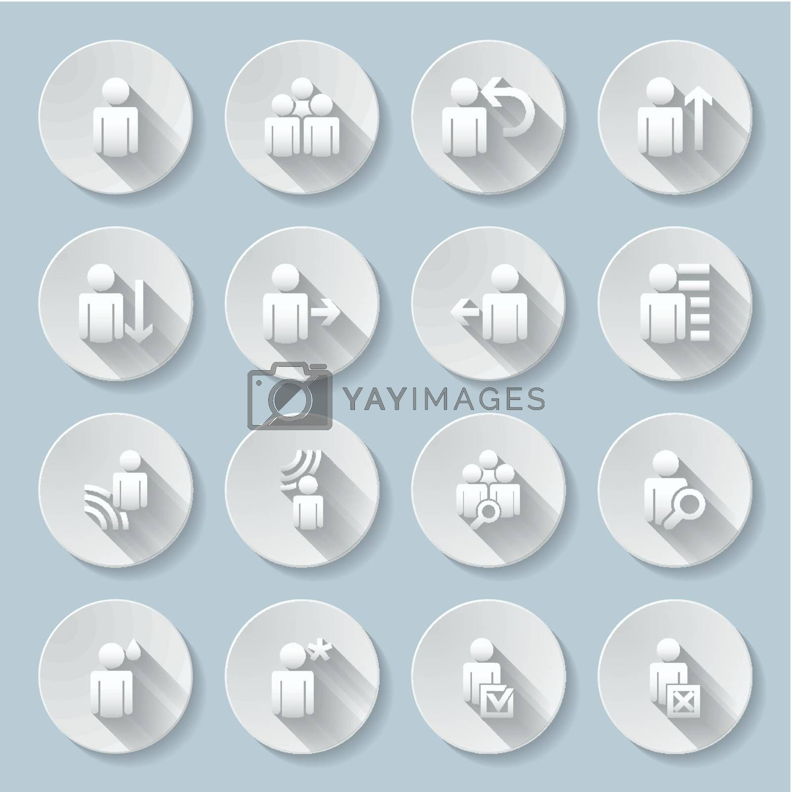 Set of flat round  icons  with functions  on  gray background