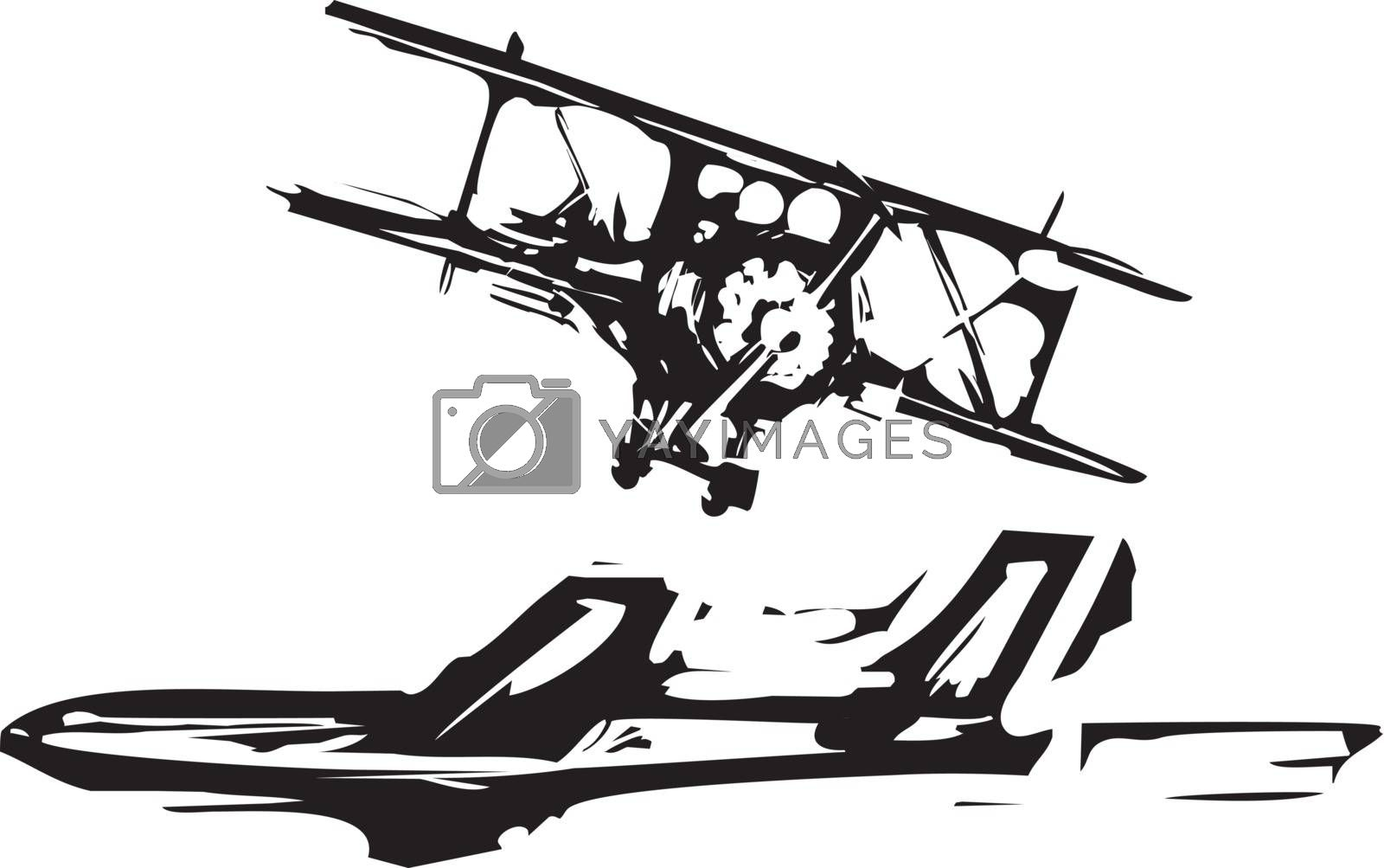 Rough woodcut style images of a jet and a biplane aircraft.