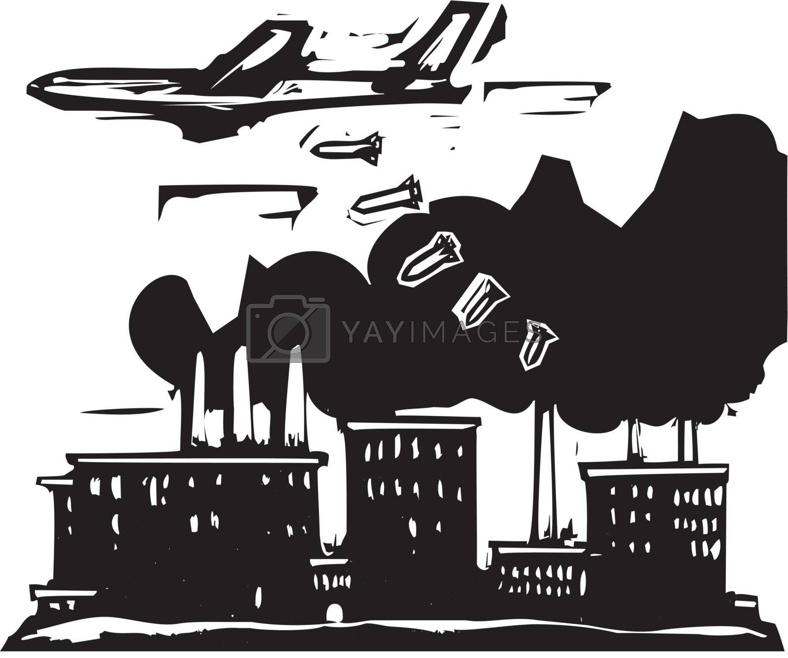 Woodcut style expressionist image of a bomber aircraft dropping bombs on a factory