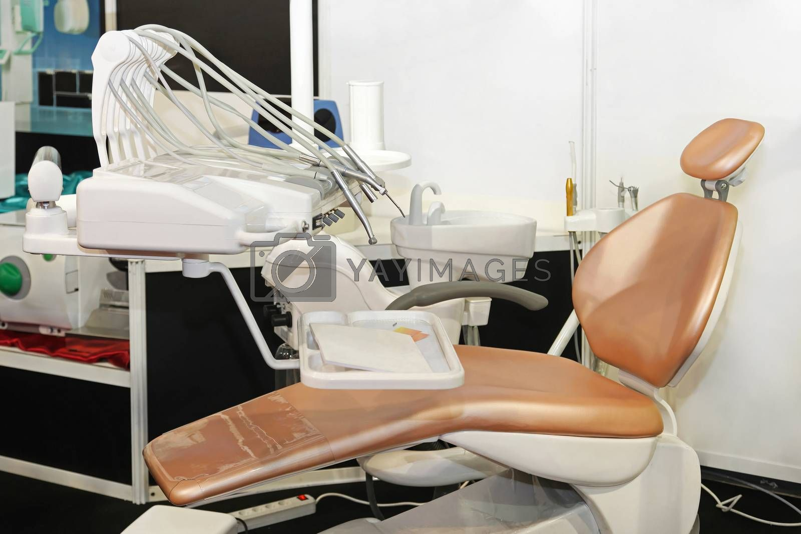 New dental chair in modern dentist office
