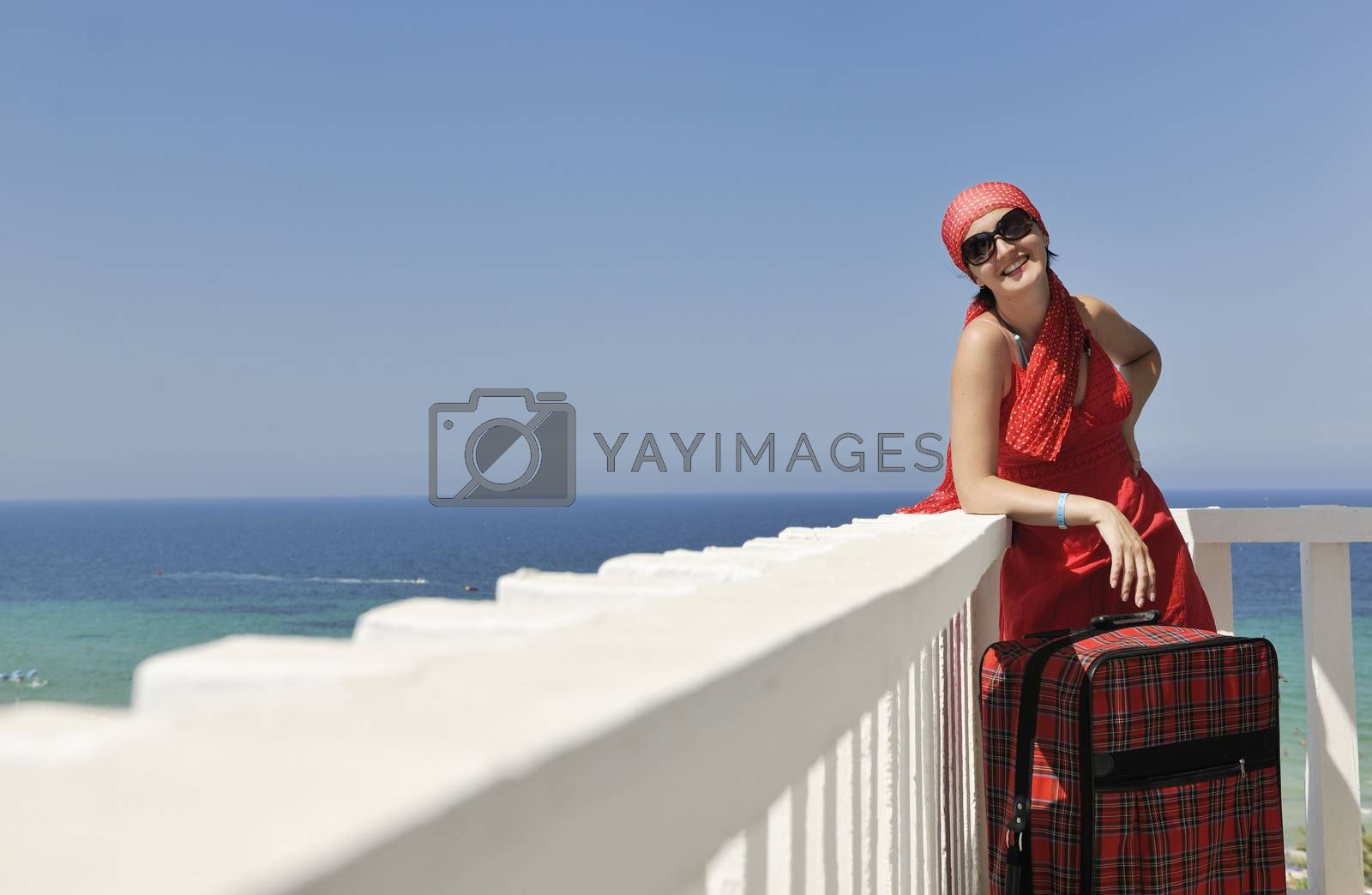 happy young woman tourist  tunis travel on road trip