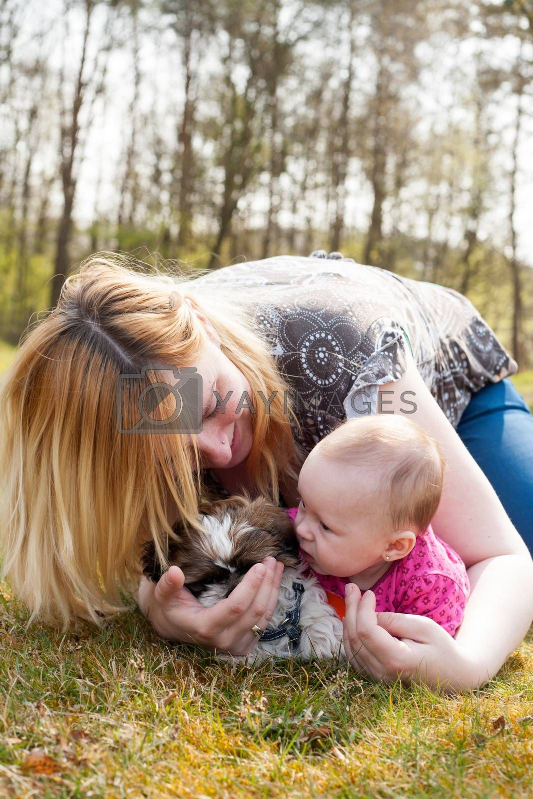 Mother is playing with puppy and baby by DNFStyle