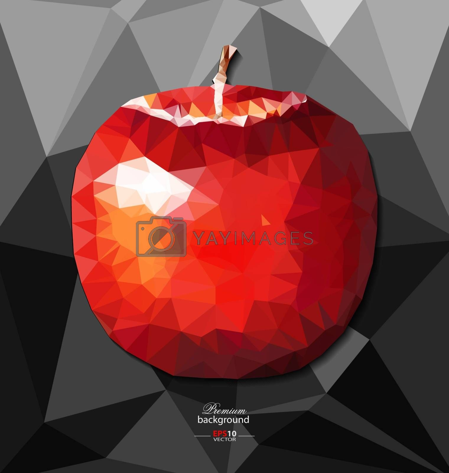 Abstract polygon background with apple for creative design