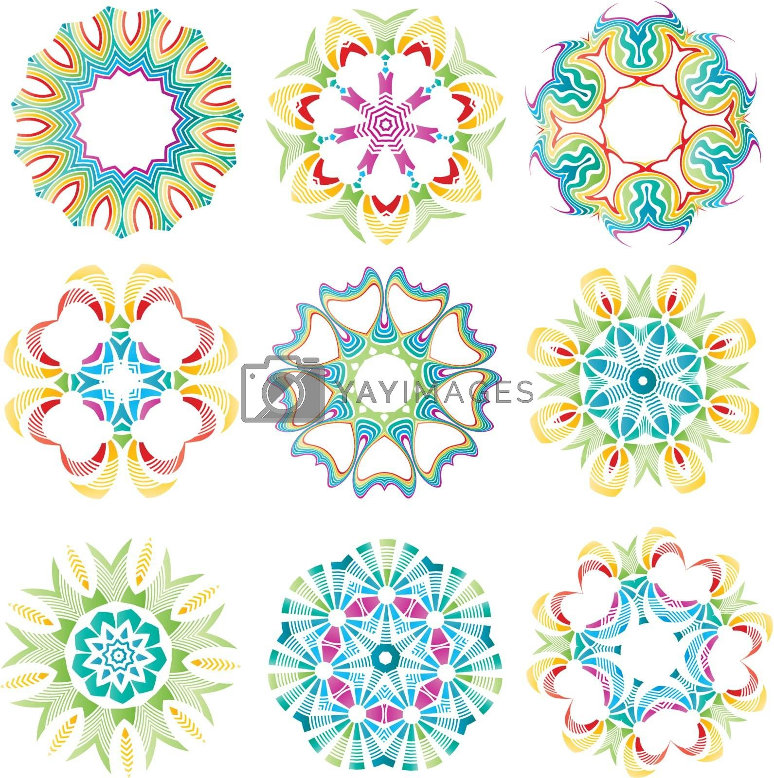 Beautiful colorful abstract flower elements for creative design