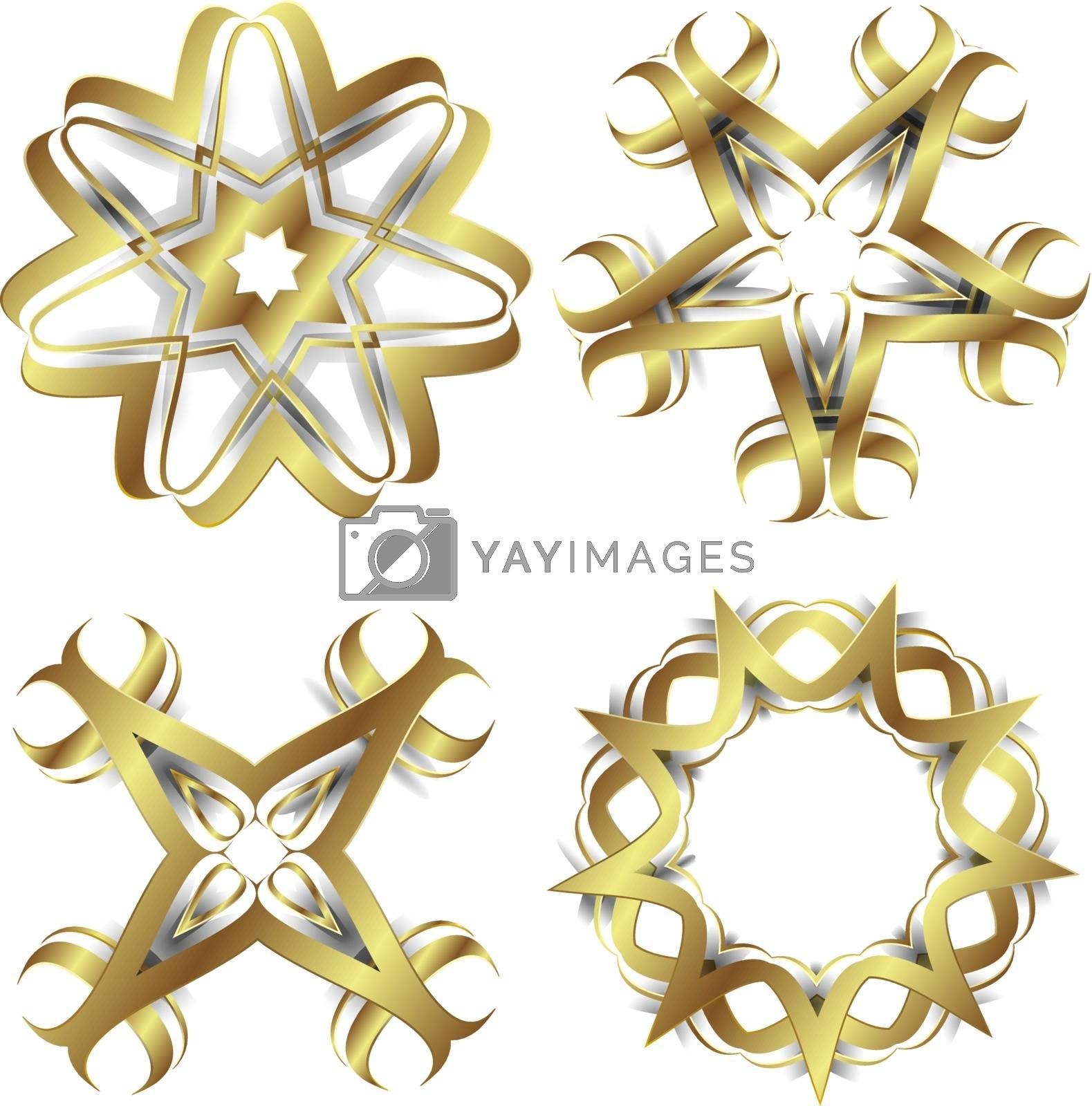 Gold abstract flower elements for creative design tasks