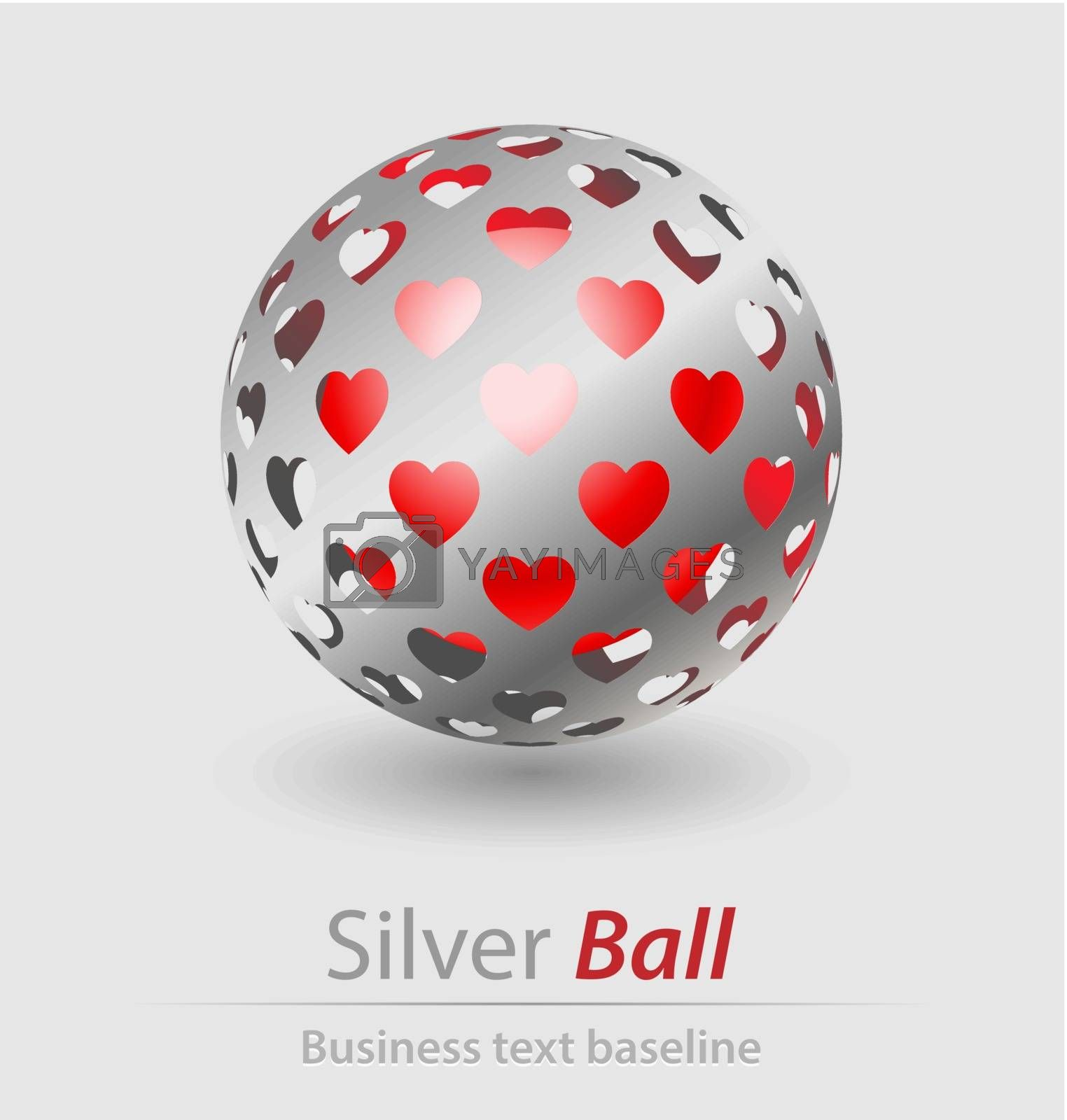 Silver ball elegant icon for creative design tasks