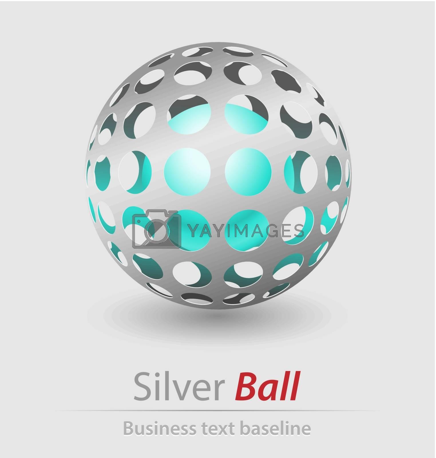 Silver ball elegant icon for creative design