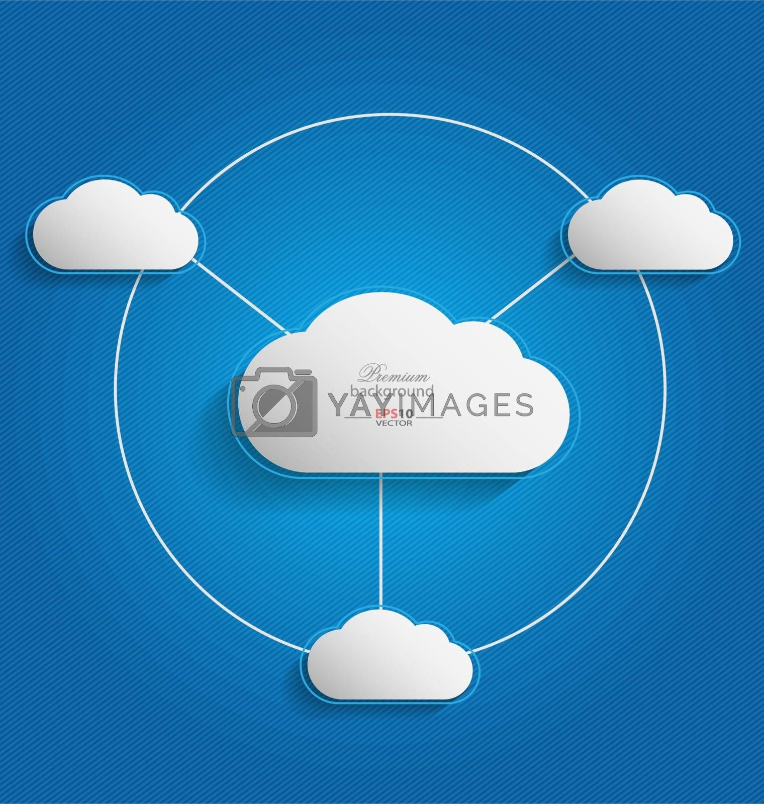 Elegant empty clouds on blue background for interactive data communication