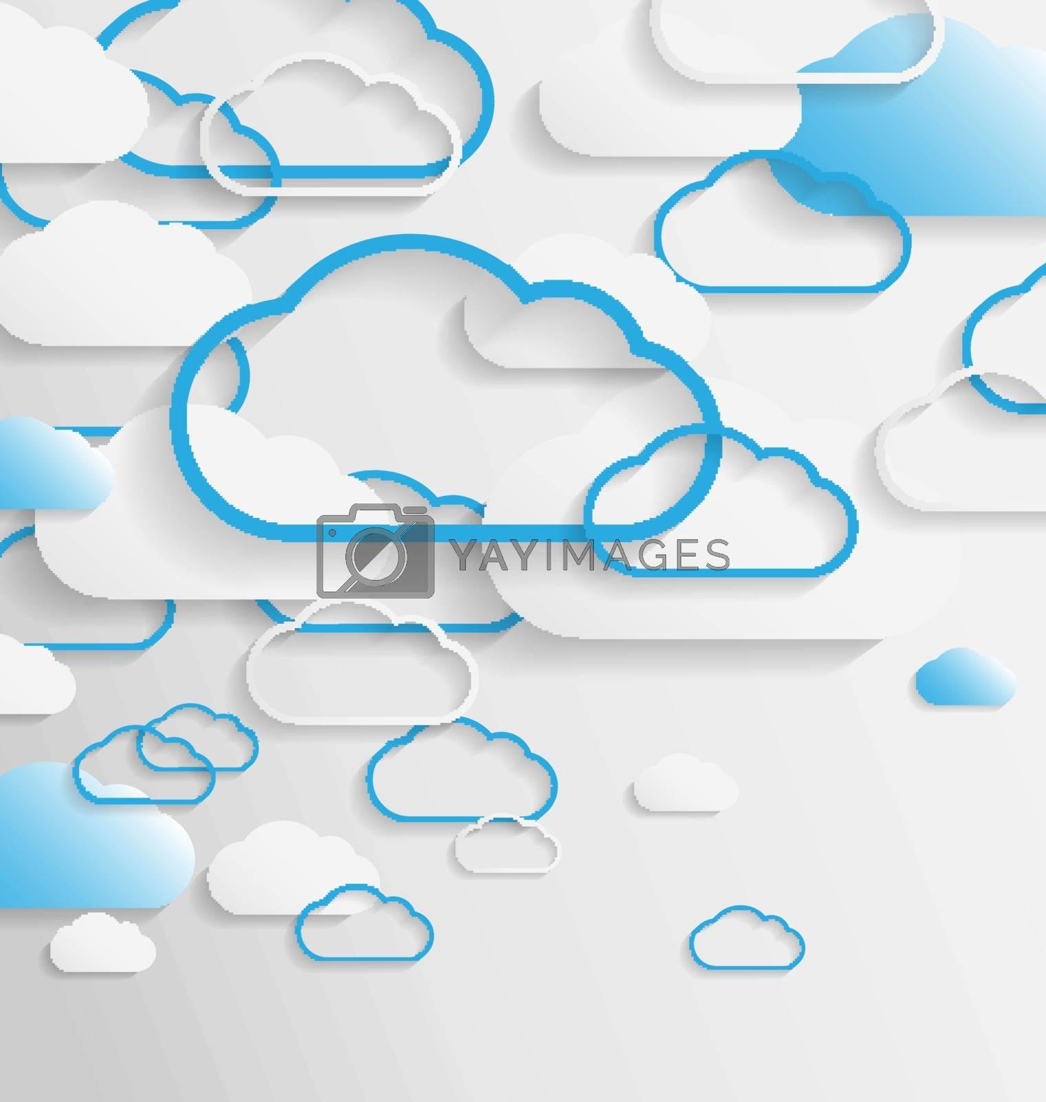 Elegant empty clouds on blue background for creative tasks