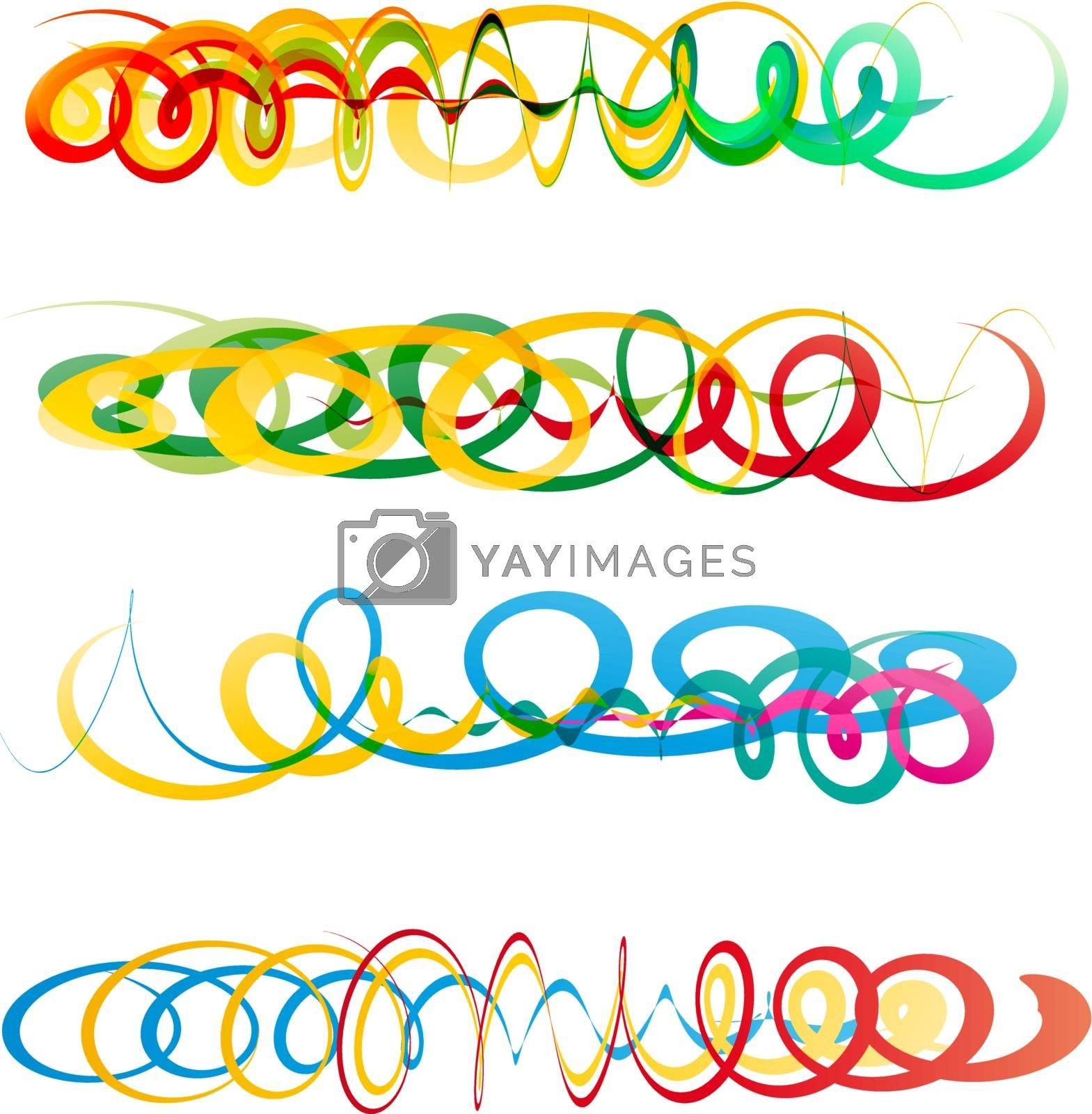 Colorful abstract curly ribbon header elements for creative design