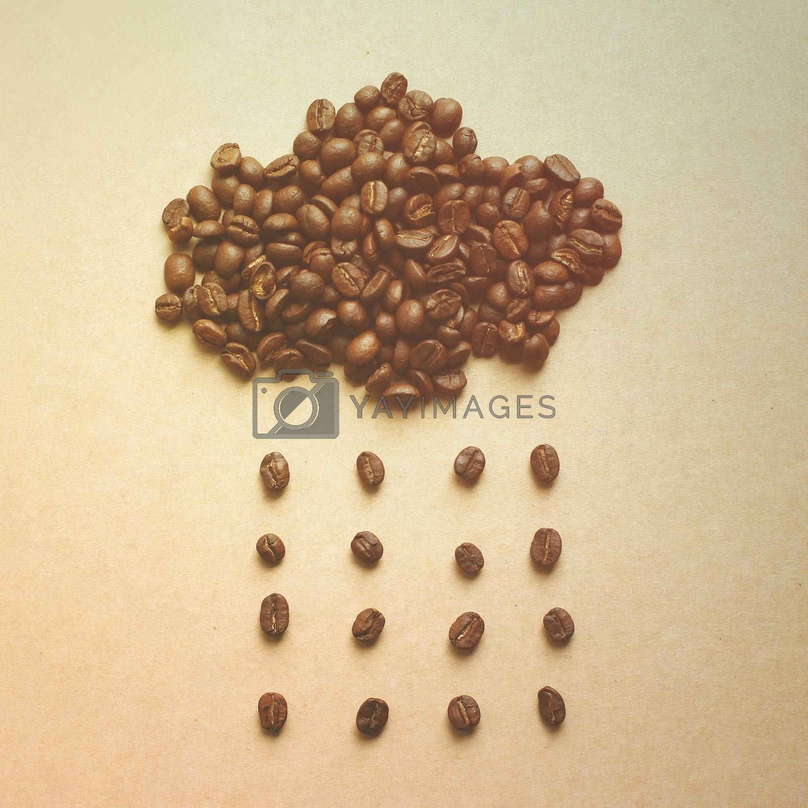 Cloud and rain from coffee beans with retro filter effect