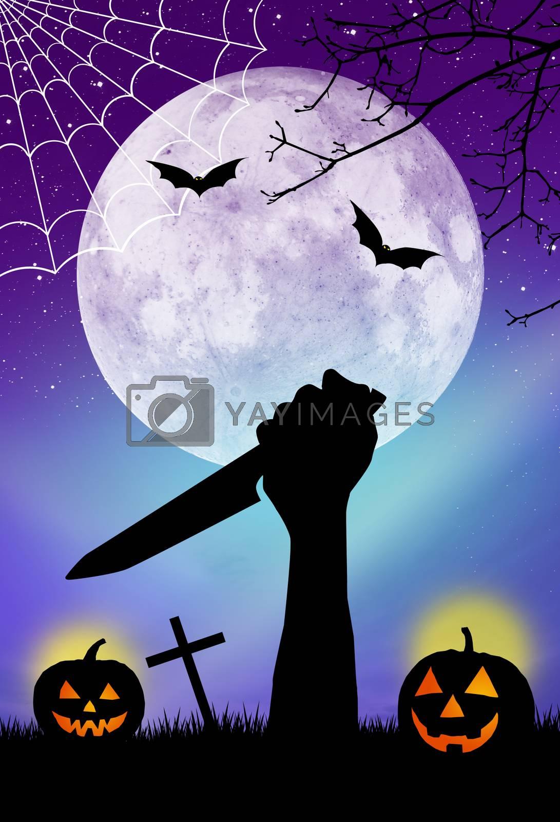 illustration of Horror Halloween card
