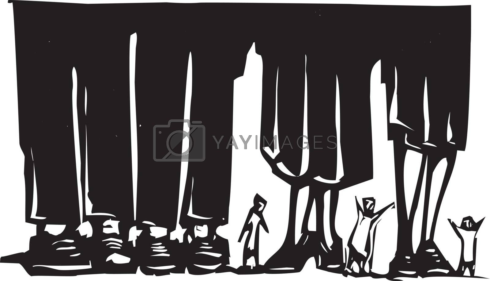 Woodcut style expressionist image of small people wandering among giant legs.