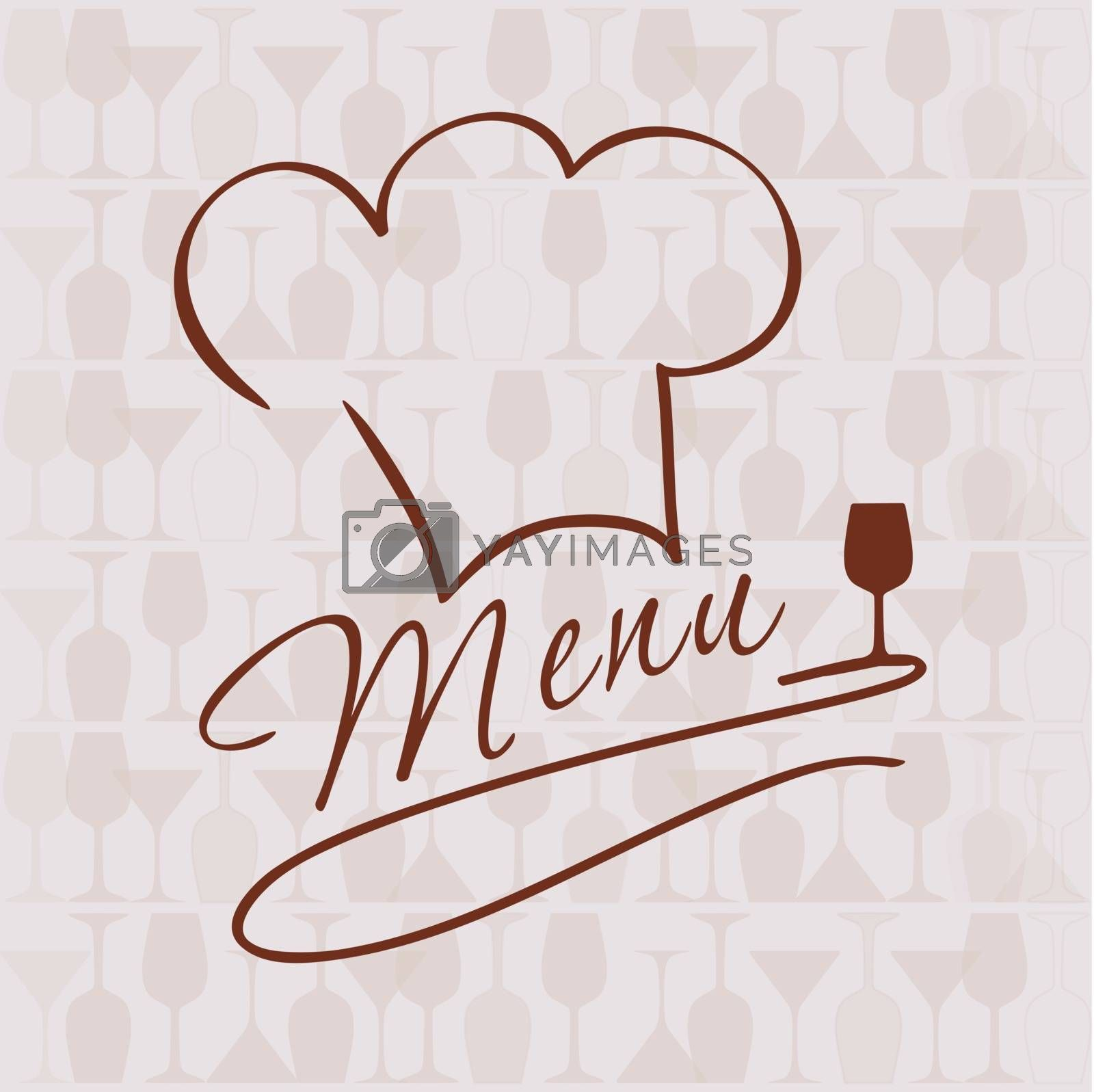 Restaurant and bar menu list. Vector illustration of chief hat and wine glasses.